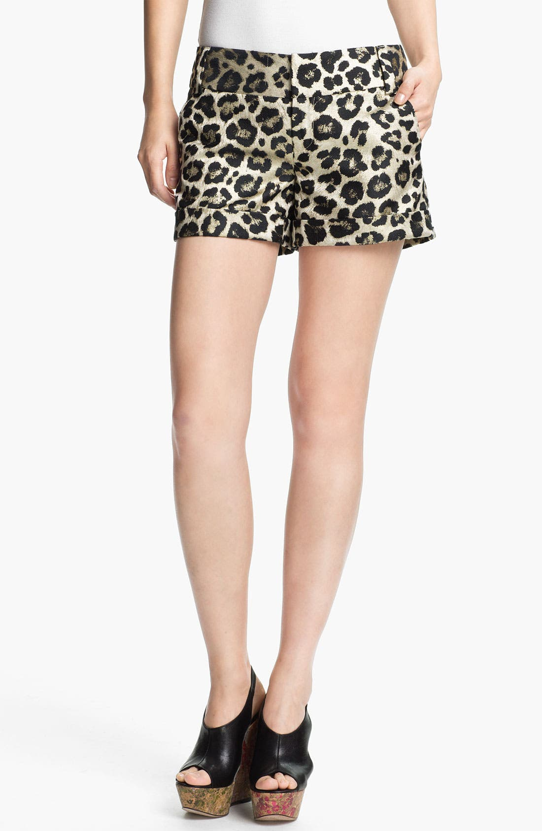 Alternate Image 1 Selected - Alice + Olivia Leopard Print Cady Shorts