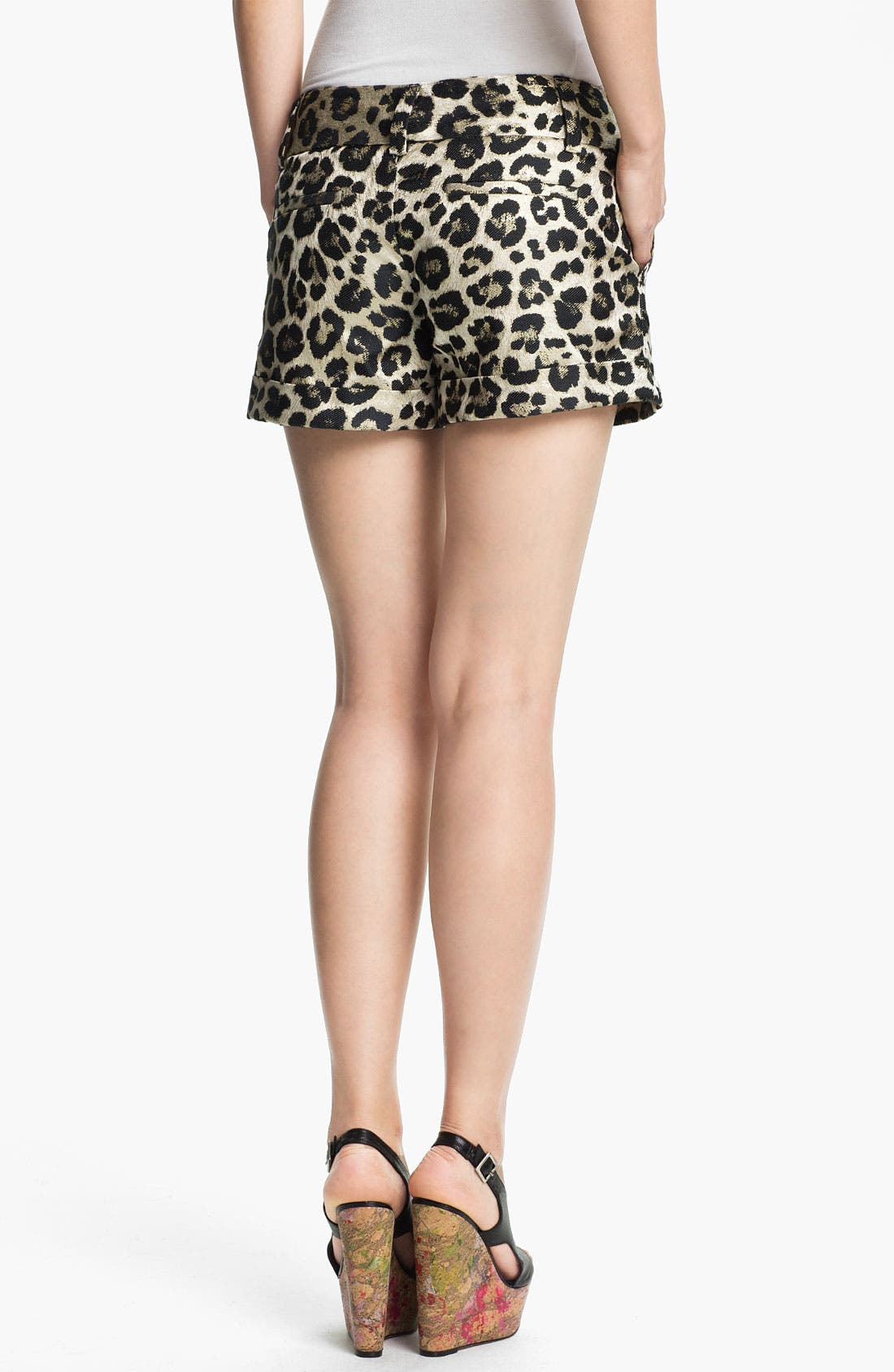Alternate Image 2  - Alice + Olivia Leopard Print Cady Shorts