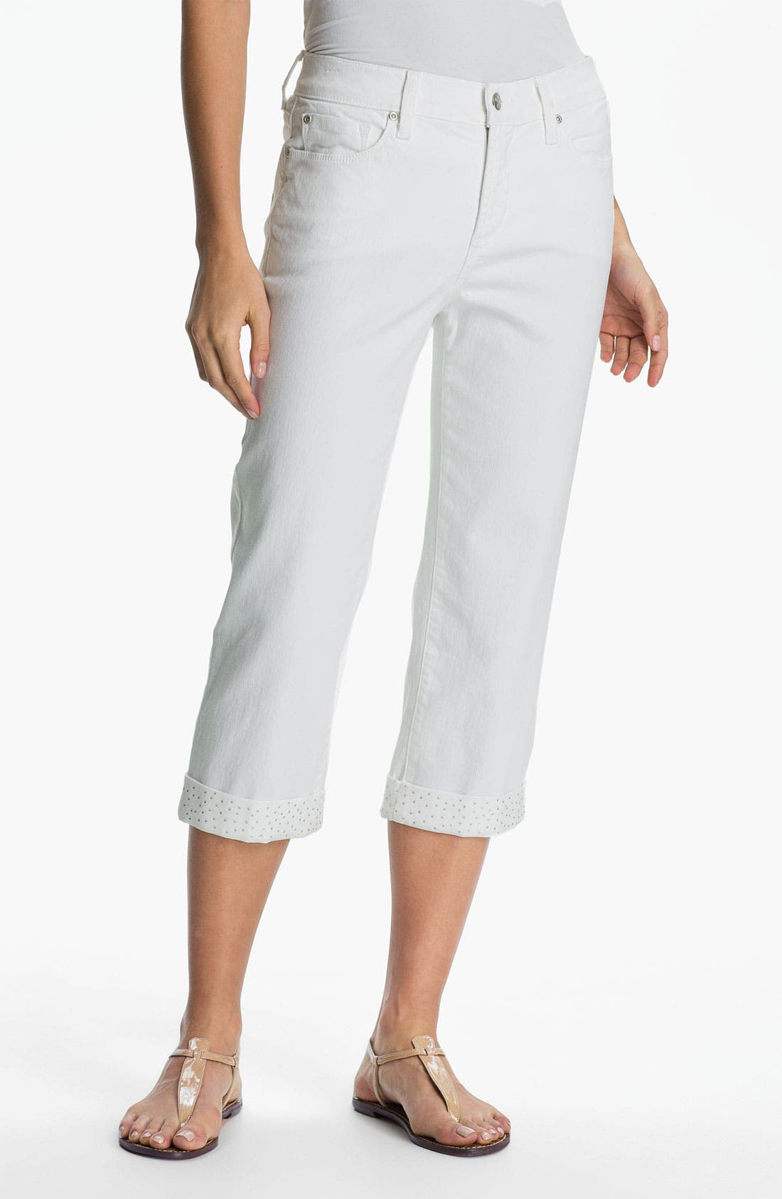 'Alyssia' Embellished Crop Jeans,                         Main,                         color, Optic White