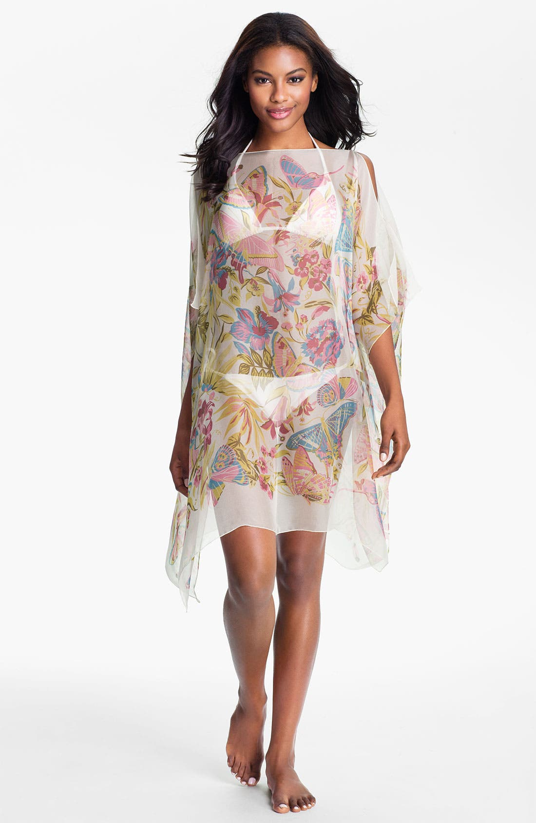 Alternate Image 1 Selected - Nordstrom Floral Silk Caftan