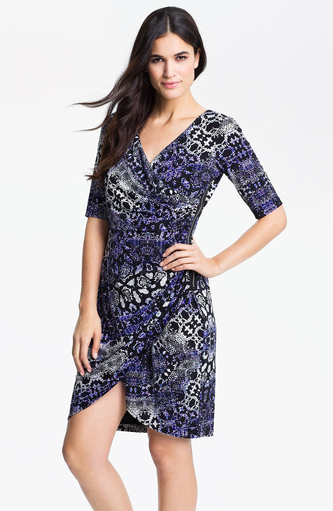 Main Image - Maggy London Python Print Jersey Faux Wrap Dress