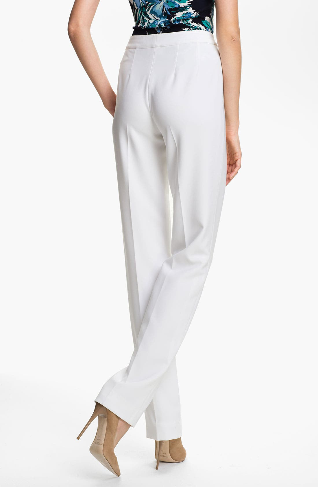 Alternate Image 3  - St. John Collection 'Diana' Straight Leg Crepe Marocain Pants