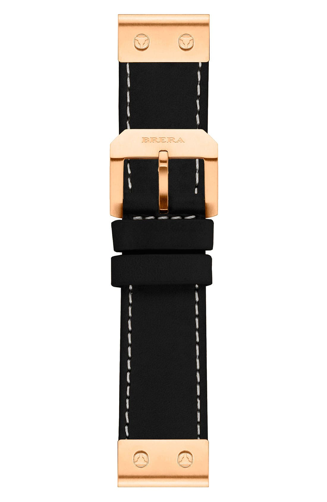 Main Image - 22MM CALF LEATHER STRAP W/ ROSE GOLD HARDWARE