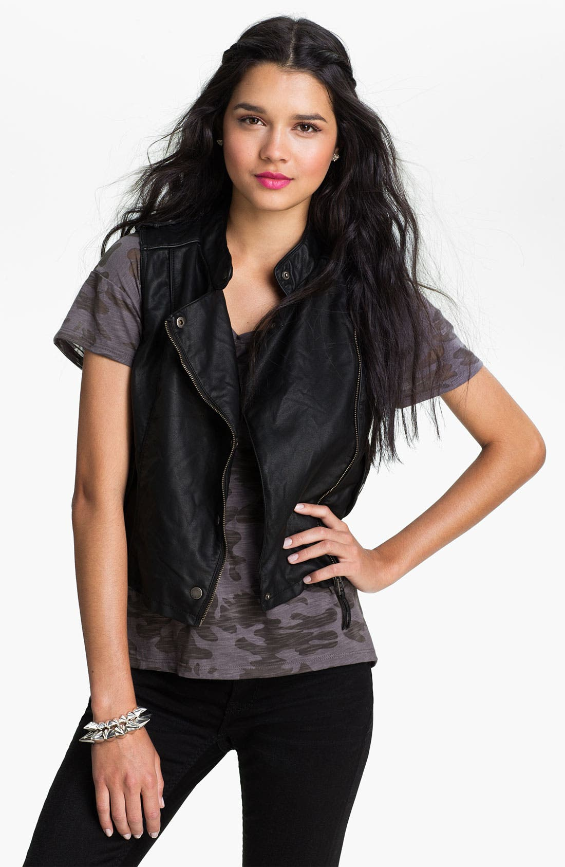 Alternate Image 1 Selected - Collection B Faux Leather Moto Vest (Juniors)