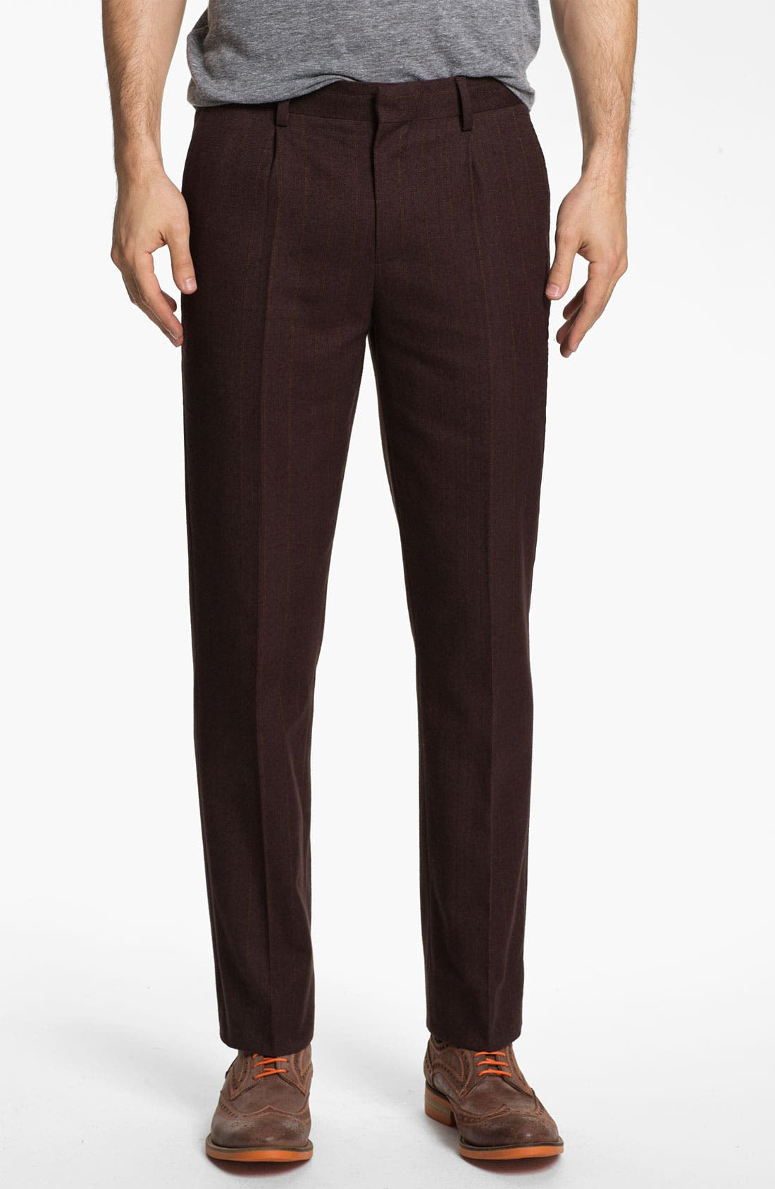 Main Image - 1901 Slim Pleated Trousers