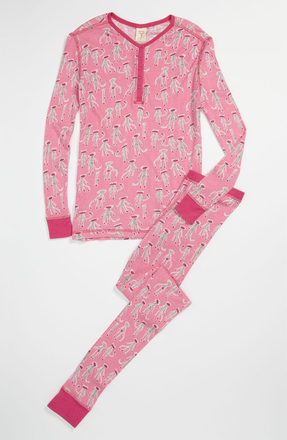 Main Image - Munki Munki Two-Piece Fitted Pajamas (Little Girls & Big Girls)