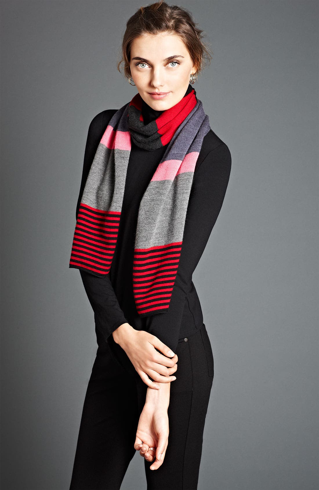 Main Image - Eileen Fisher Turtleneck, Jeans & Scarf
