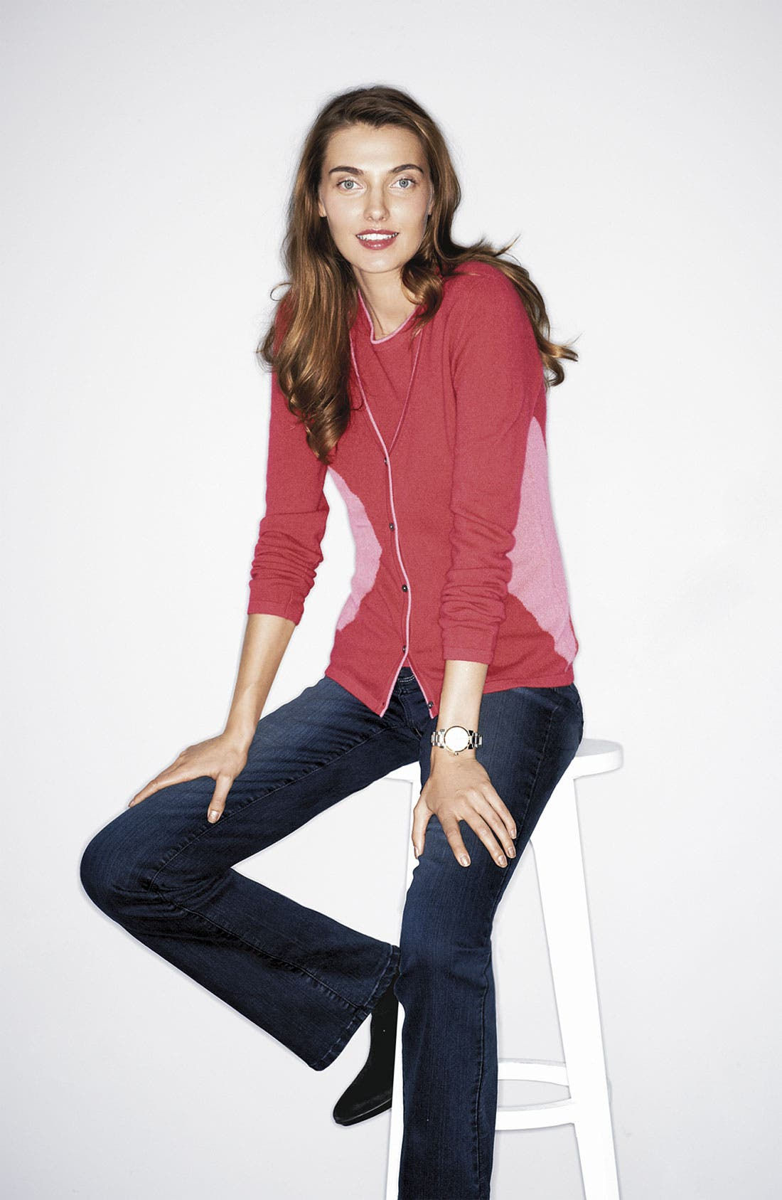 Alternate Image 1 Selected - Lauren Hansen Cardigan & Shell, NYDJ Jeans
