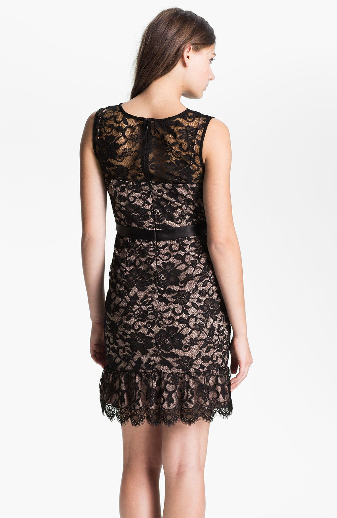 Alternate Image 2  - Xscape Scalloped Trim Lace Overlay Sheath Dress