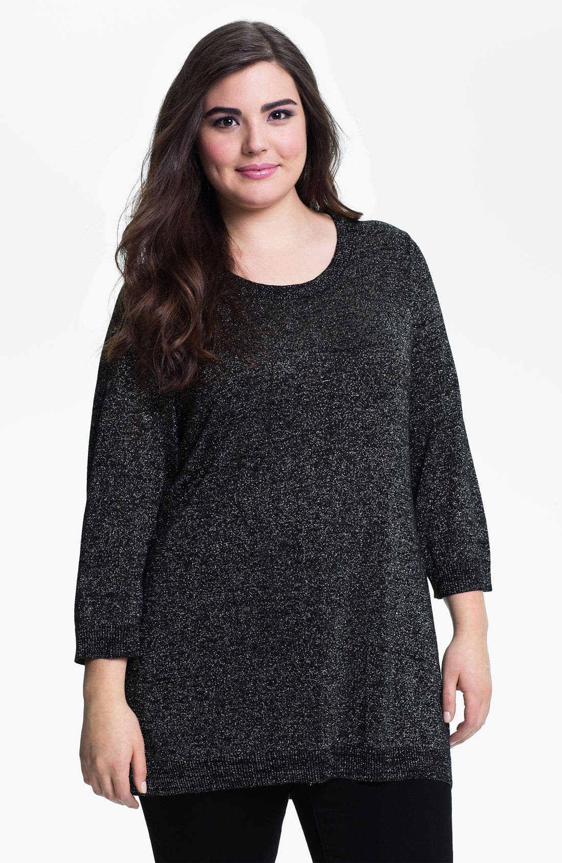 Main Image - Evans Metallic Knit Sweater (Plus Size)