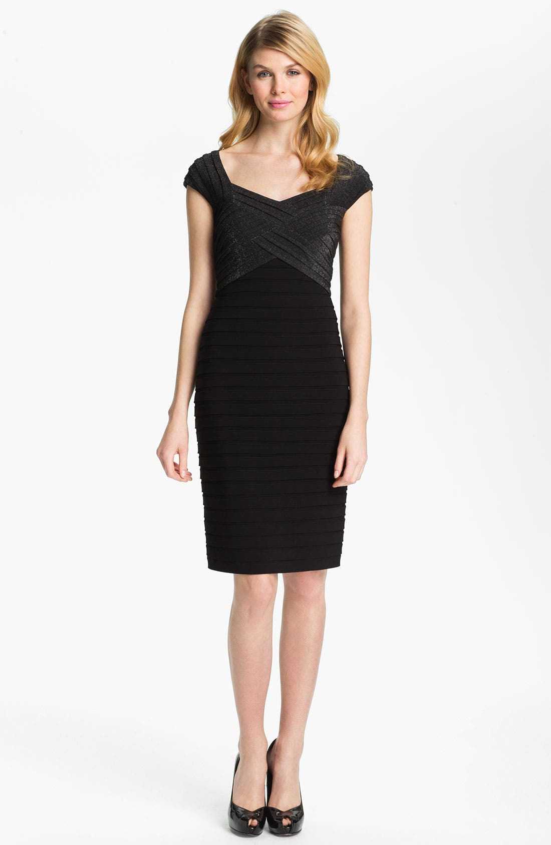 Main Image - Adrianna Papell Metallic Pleated Sheath Dress