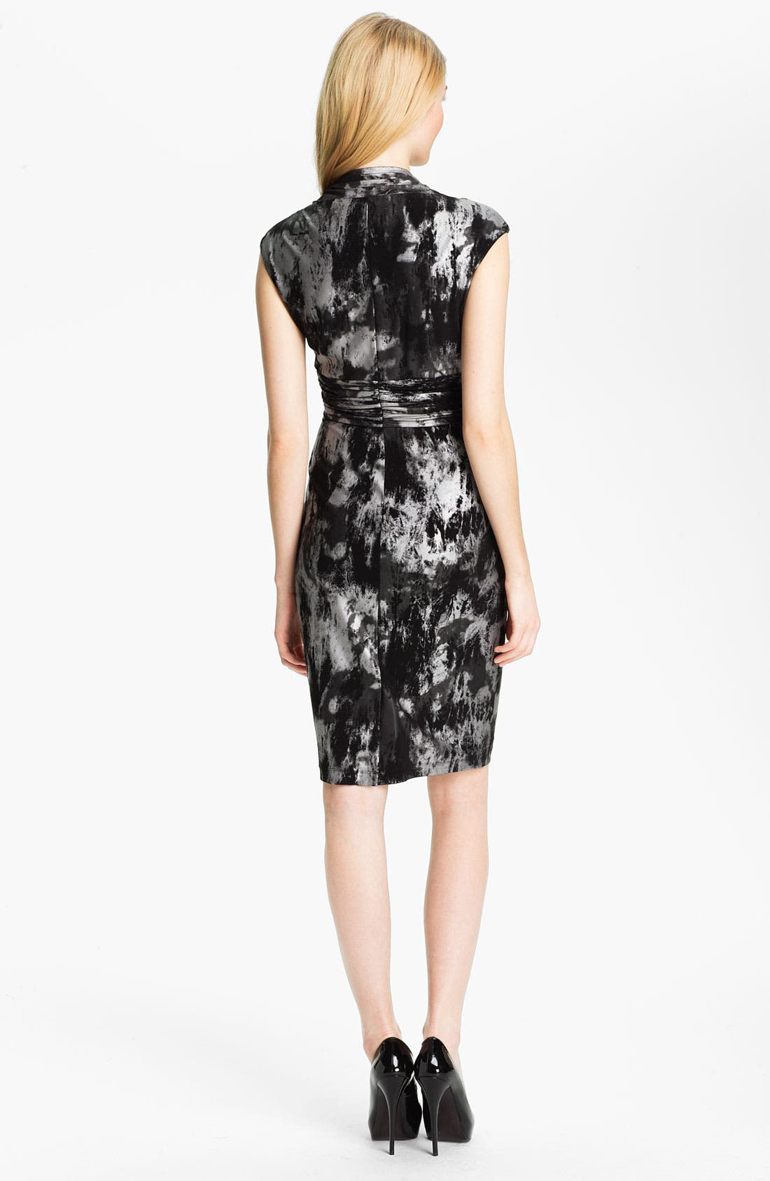 Alternate Image 2  - Ellen Tracy Abstract Print V-Neck Sheath Dress