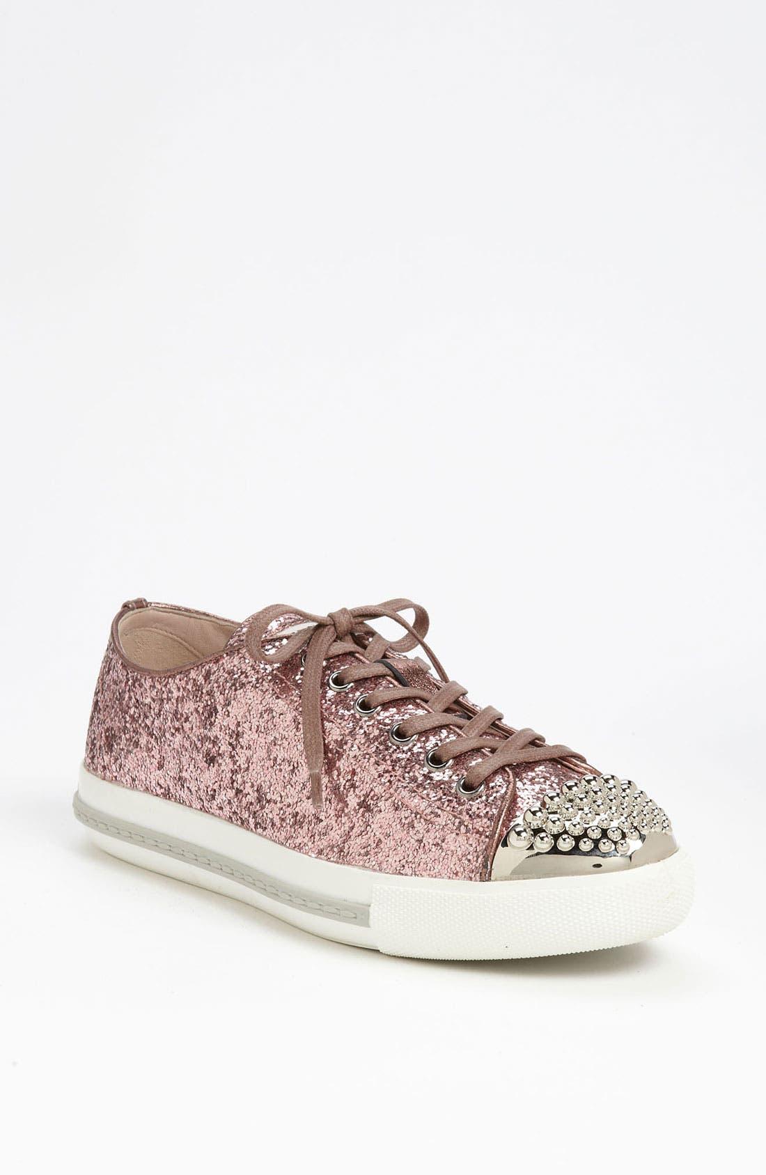 Alternate Image 1 Selected - Miu Miu Glitter Cap Toe Sneaker