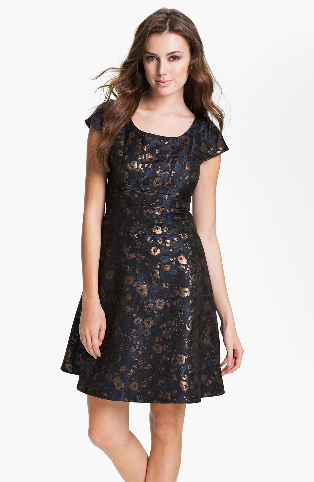 Alternate Image 1 Selected - Donna Ricco Short Sleeve Brocade Fit & Flare Dress