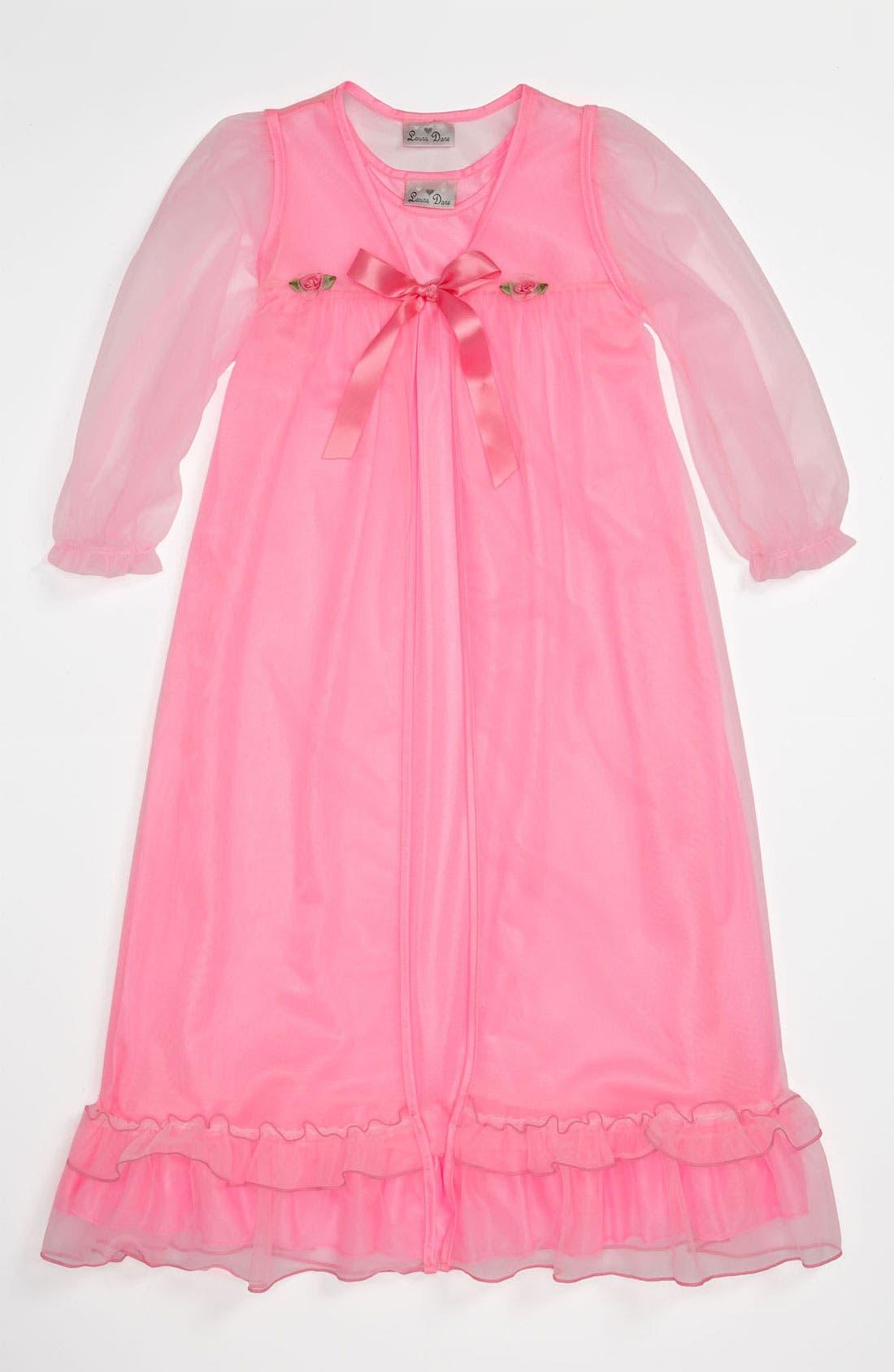 Main Image - Laura Dare Nightgown & Robe (Little Girls)
