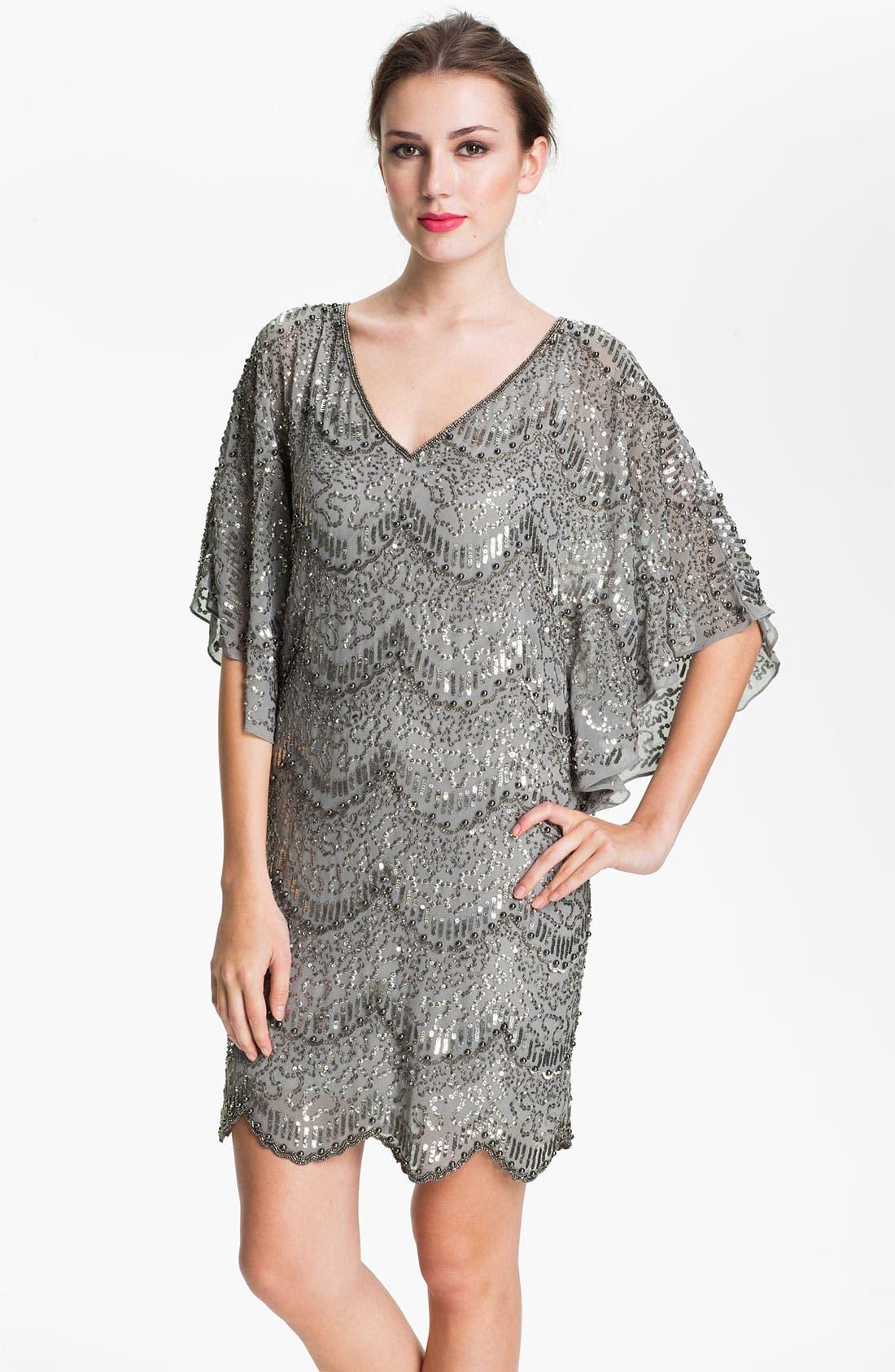 Alternate Image 1 Selected - Adrianna Papell Flutter Sleeve Embellished Chiffon Dress