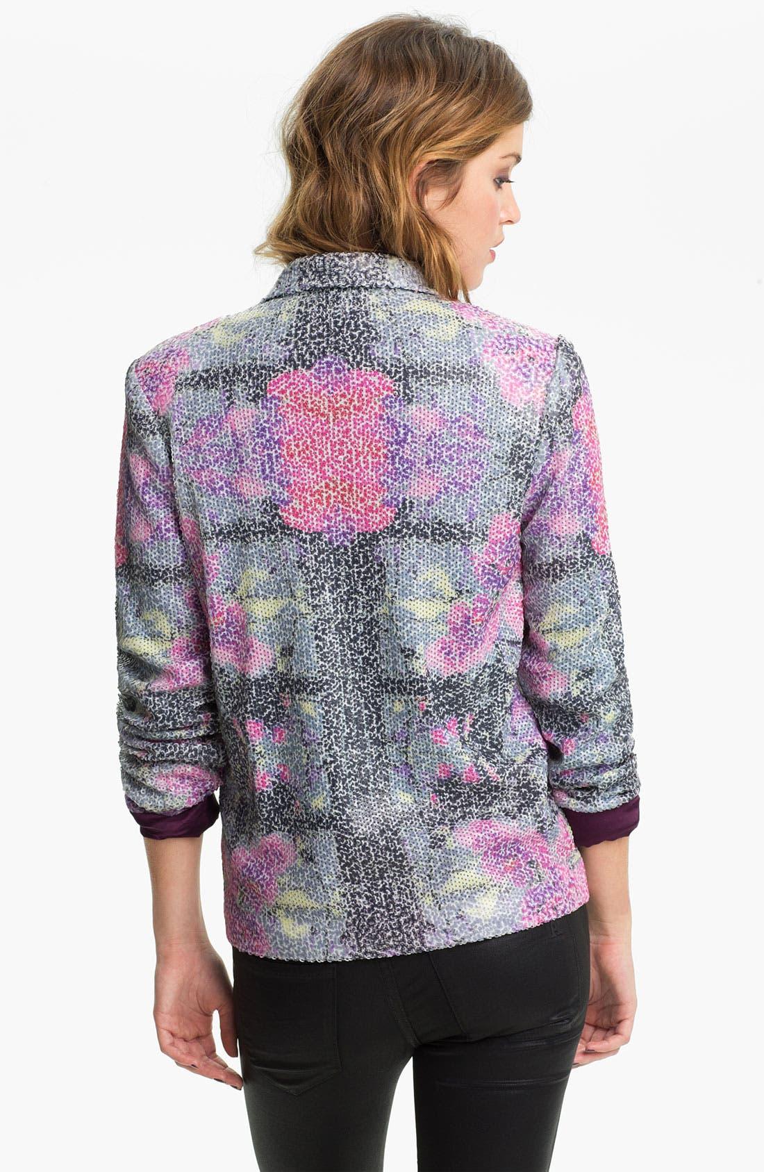 Alternate Image 2  - Chloe K Printed Sequin Blazer (Juniors)