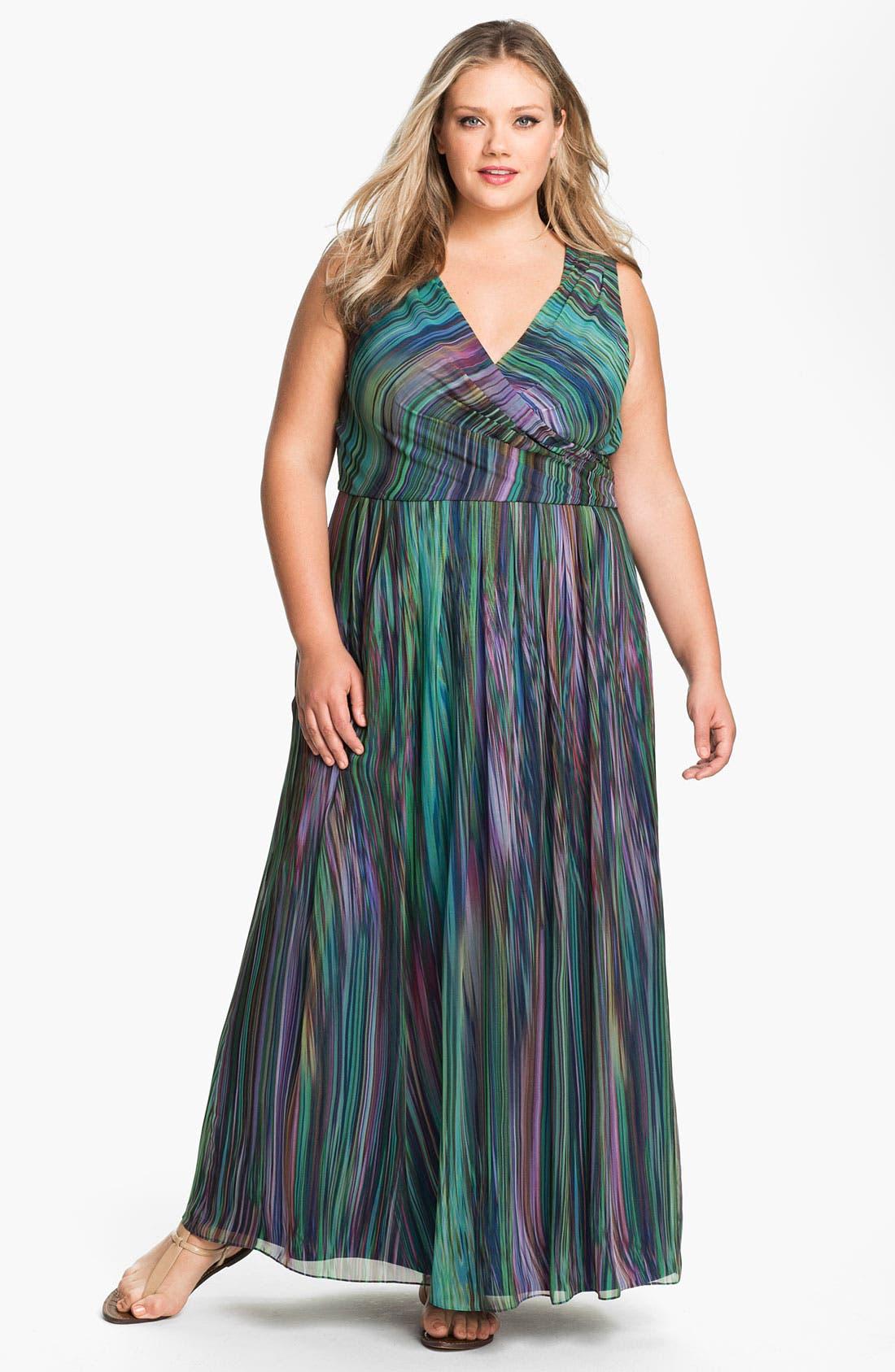 Main Image - Donna Ricco Faux Wrap Maxi Dress (Plus Size)