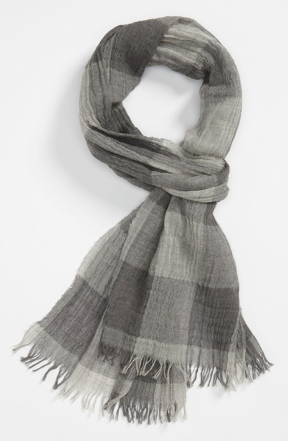 Buffalo Plaid Wool Scarf,                         Main,                         color, Charcoal