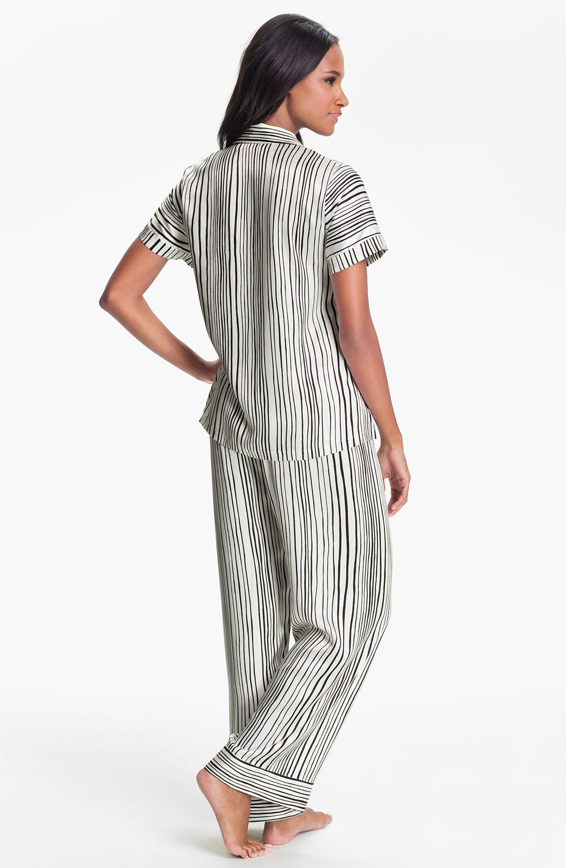 Alternate Image 2  - Oscar de la Renta Sleepwear Stripe Charmeuse Pajamas