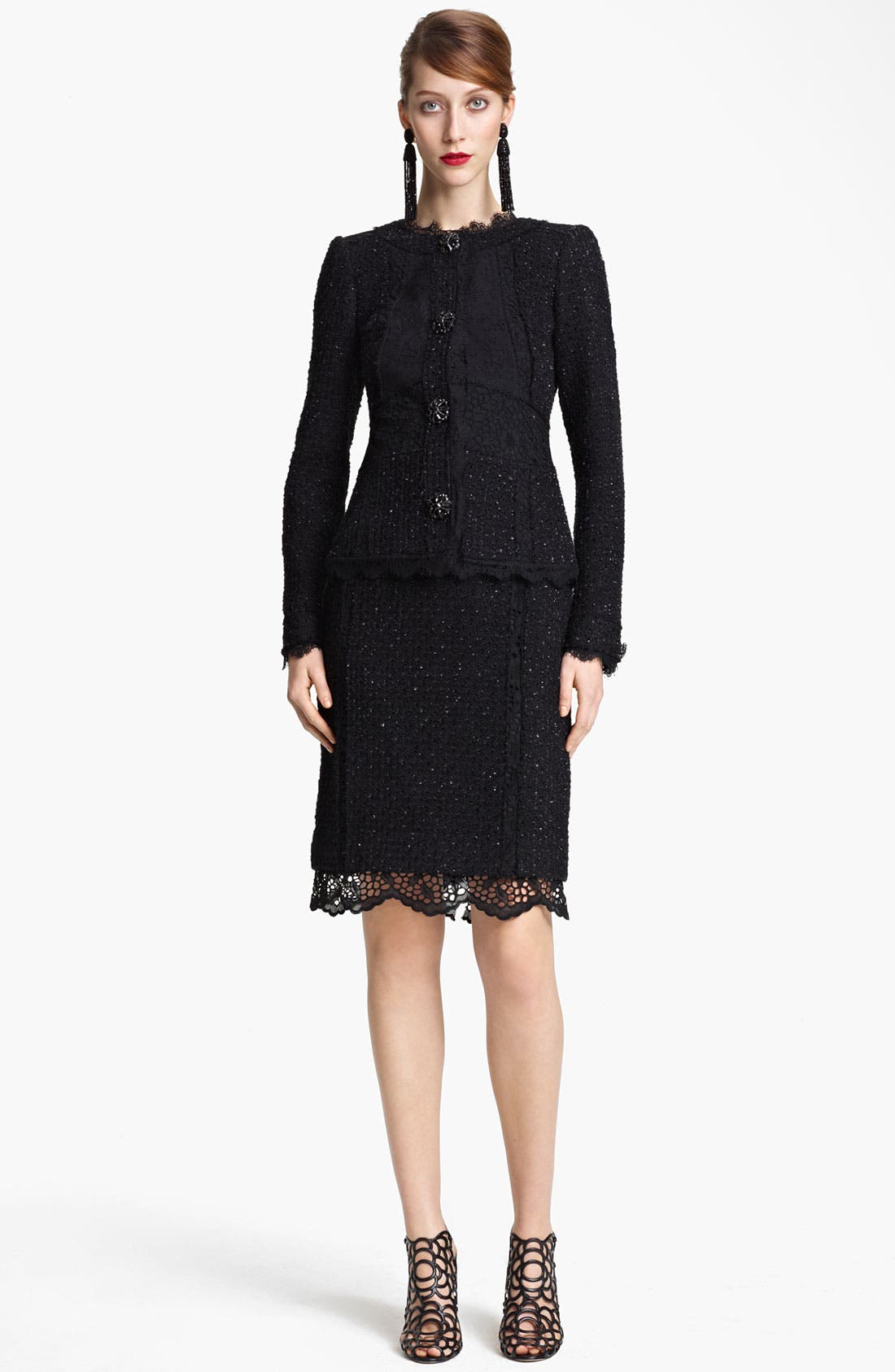 Alternate Image 2  - Oscar de la Renta Lace & Tweed Jacket