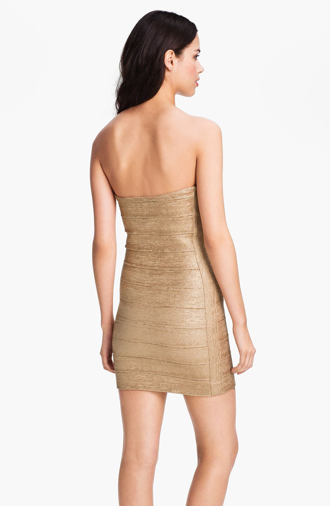 Alternate Image 2  - Haute Hippie Metallic Bandage Strapless Minidress