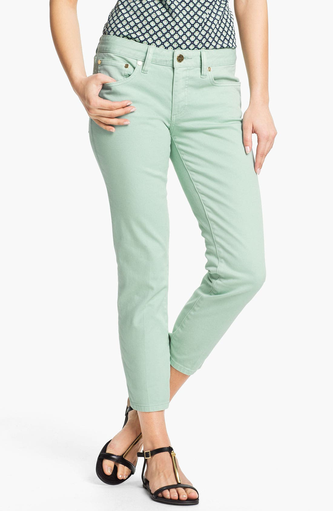 Main Image - Tory Burch 'Alexa' Crop Skinny Stretch Jeans (Seaglass)