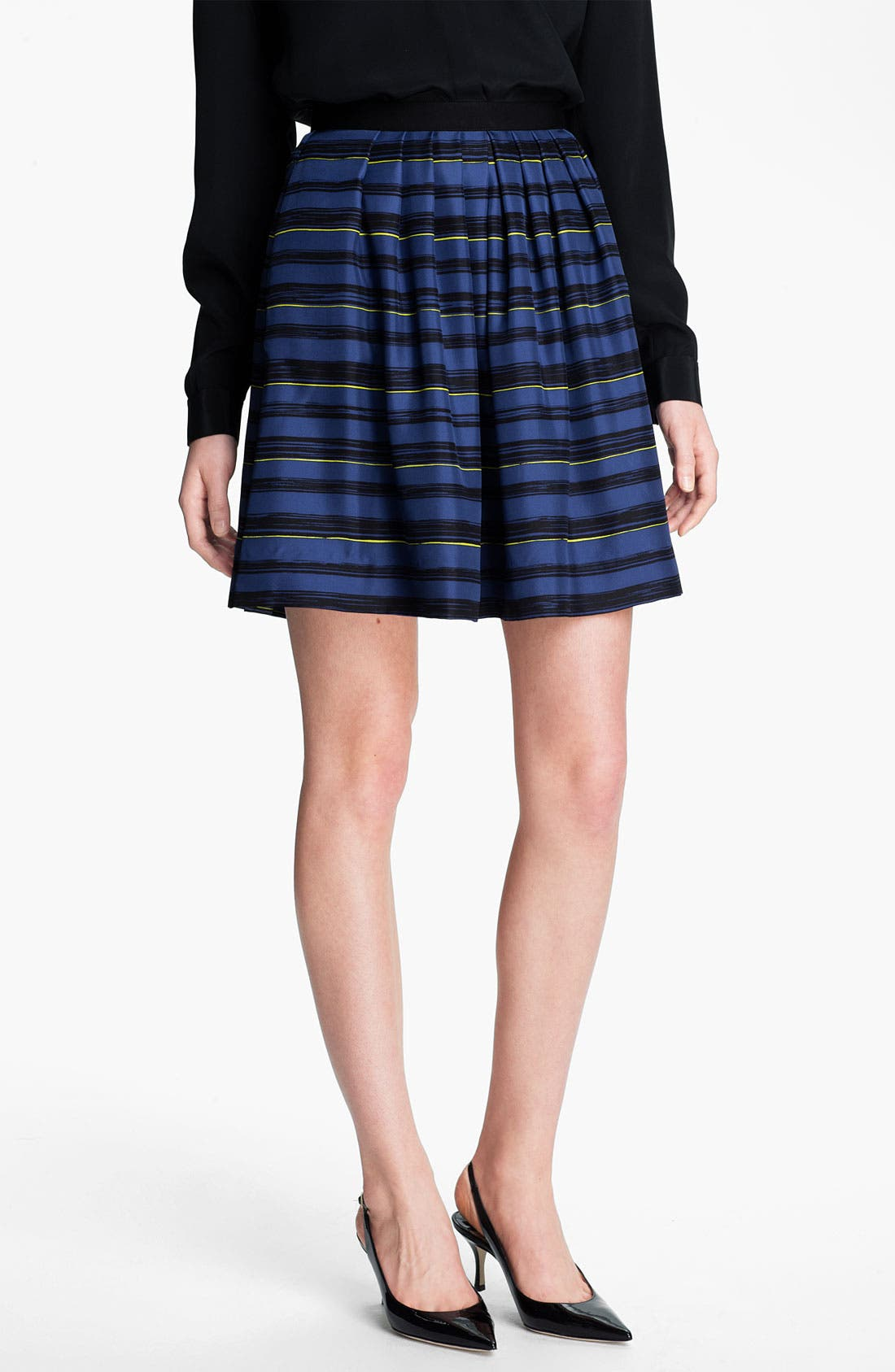 Main Image - Miss Wu 'Lush' Stripe Silk Twill Skirt (Nordstrom Exclusive)