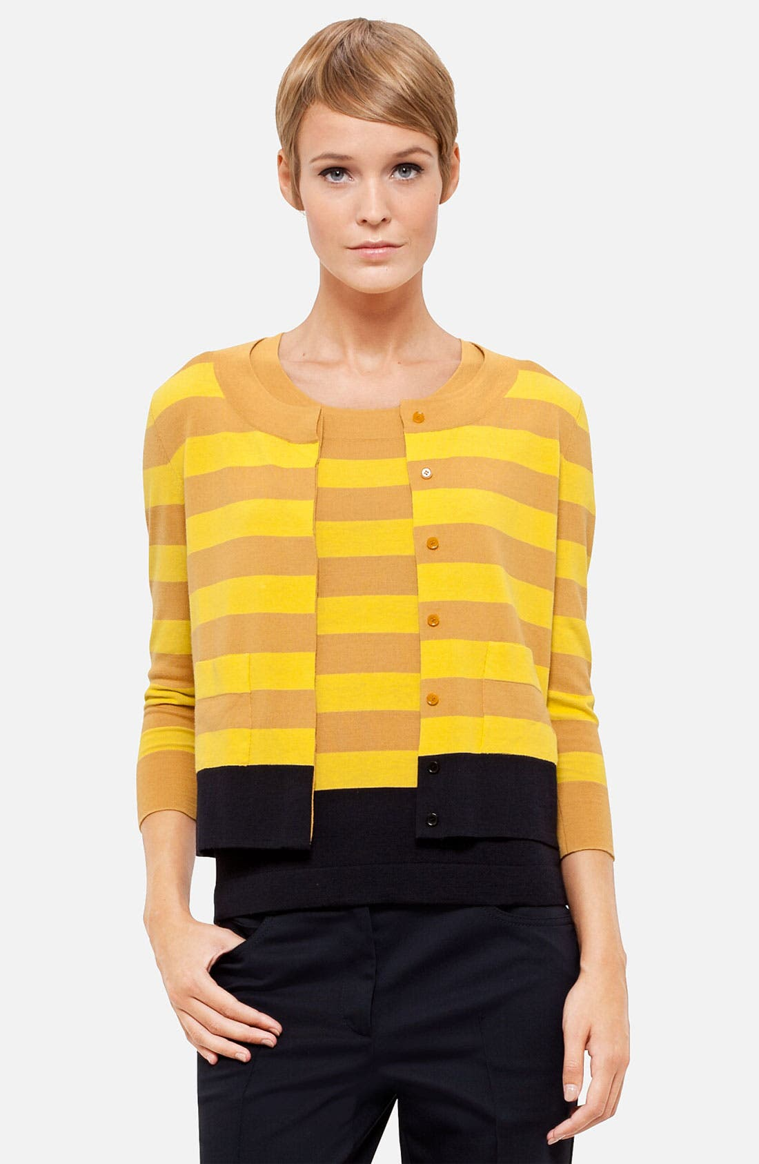 Alternate Image 1 Selected - Akris punto Stripe Wool Cardigan