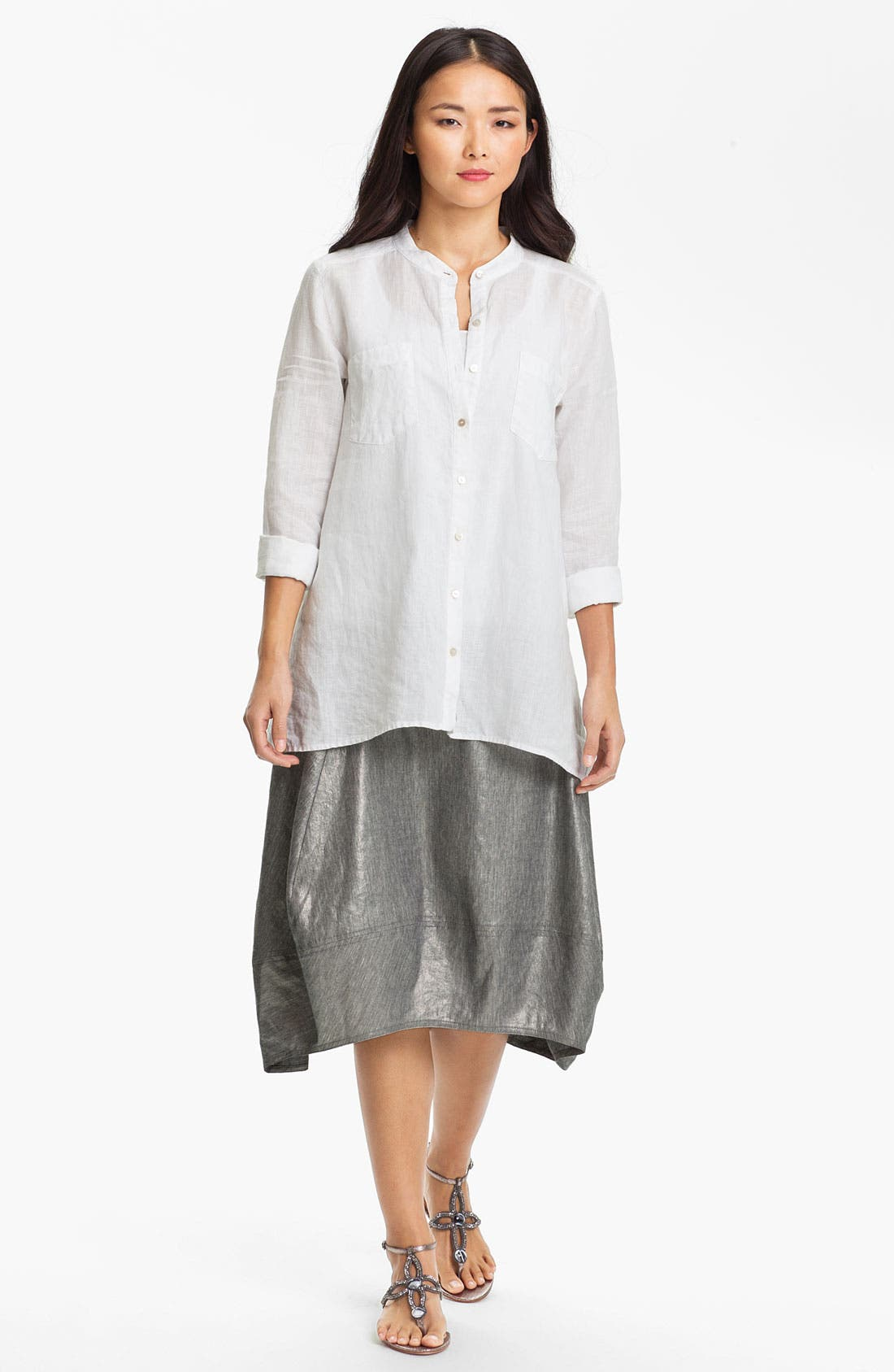 Alternate Image 5  - Eileen Fisher Stretch Linen Blend Lantern Skirt