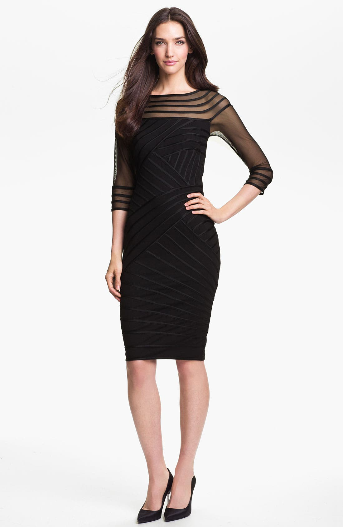 Main Image - Tadashi Shoji Sheer Sleeve Satin Trim Sheath Dress