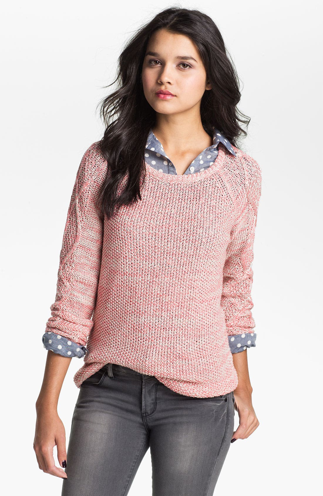 Alternate Image 1 Selected - BP. Cable Sleeve Marled Sweater (Juniors)