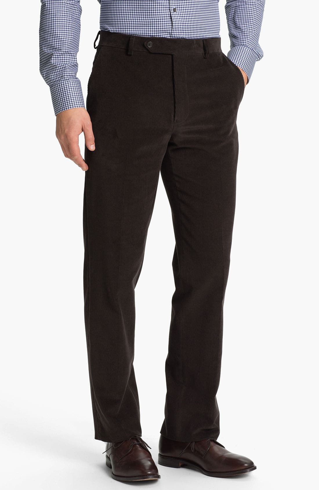 Alternate Image 1 Selected - Samuelsohn Flat Front Corduroy Trousers