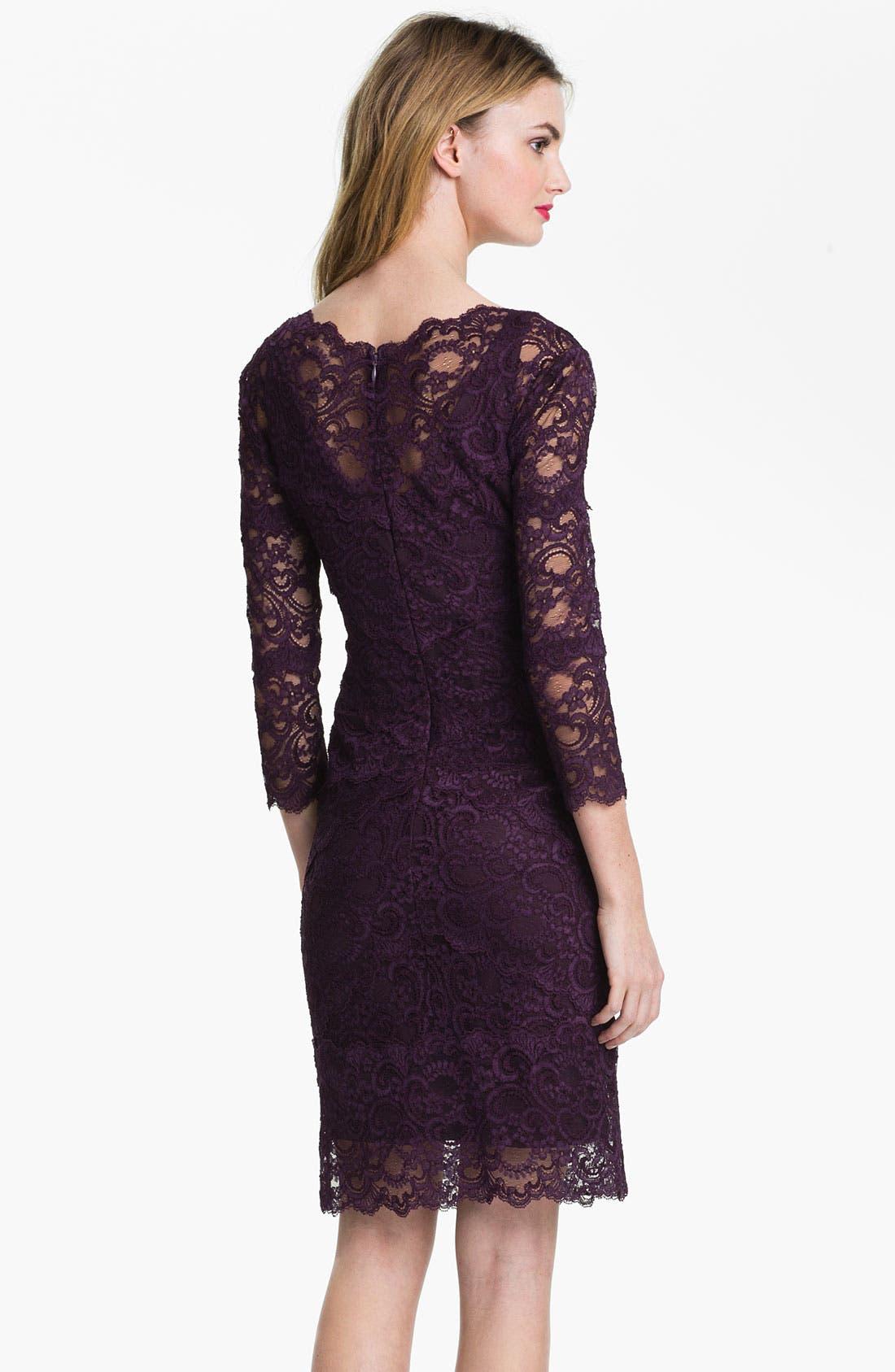 Alternate Image 2  - Nicole Miller Illusion Sleeve Lace Overlay Sheath Dress