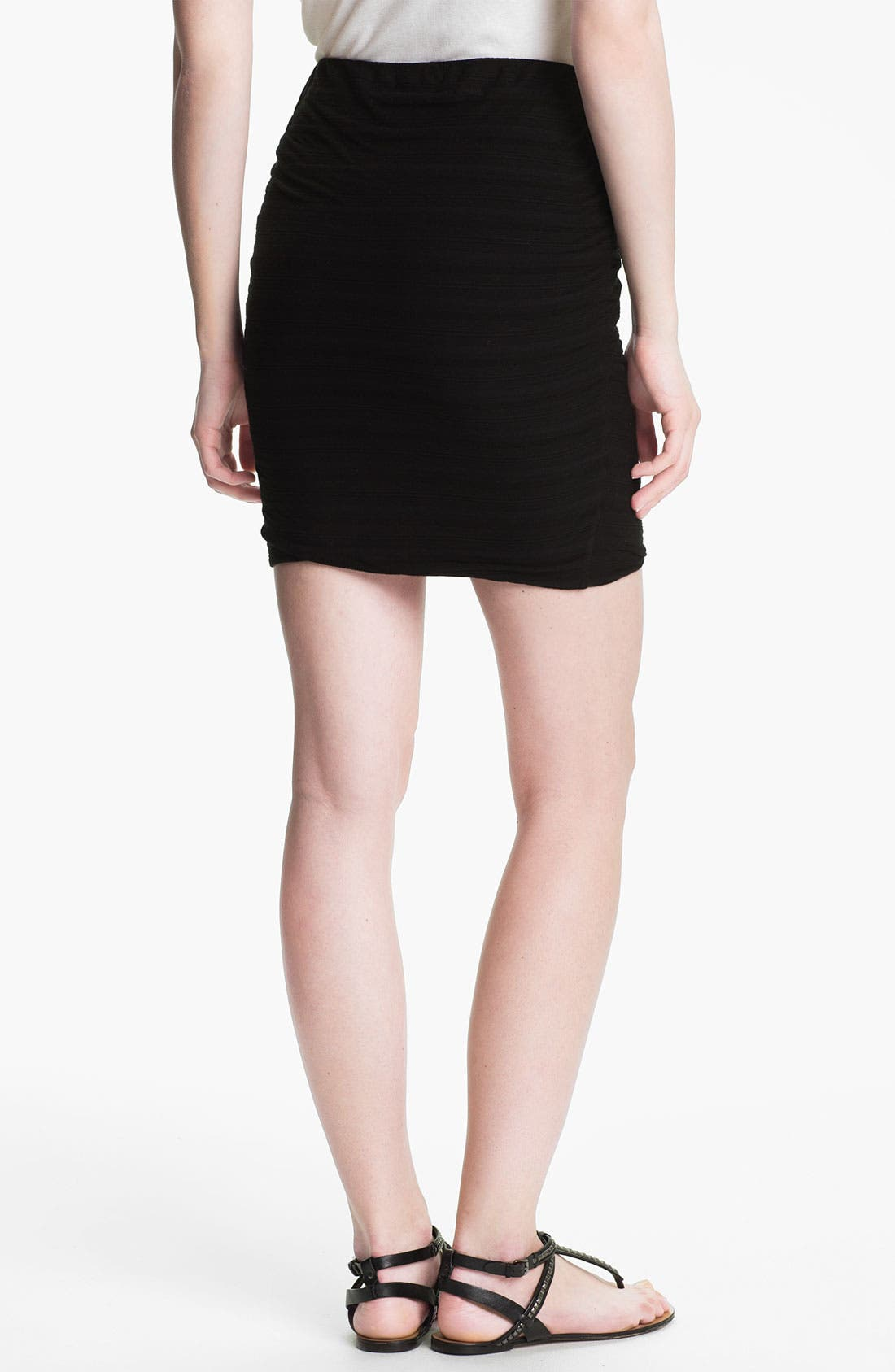Alternate Image 2  - James Perse Shadow Stripe Ruched Miniskirt