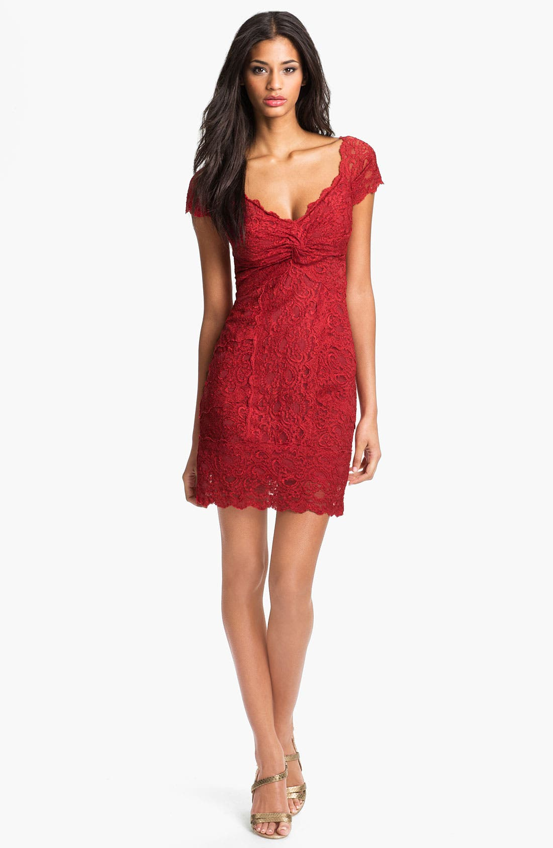 Main Image - Nicole Miller Front Twist Lace Sheath Dress