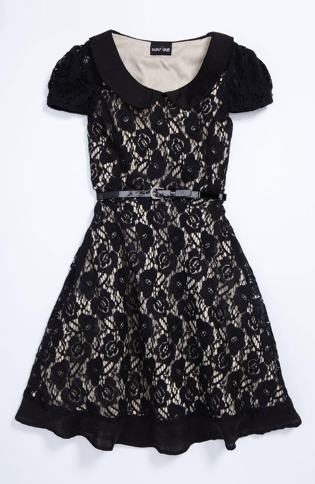 Main Image - Paper Doll Lace Dress (Little Girls & Big Girls)