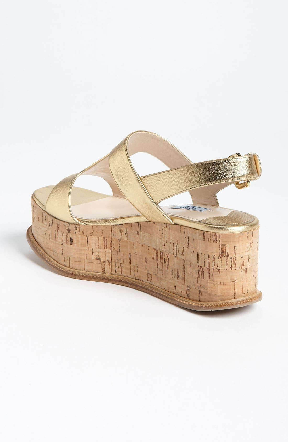 Alternate Image 2  - Prada T-Strap Platform Wedge Sandal