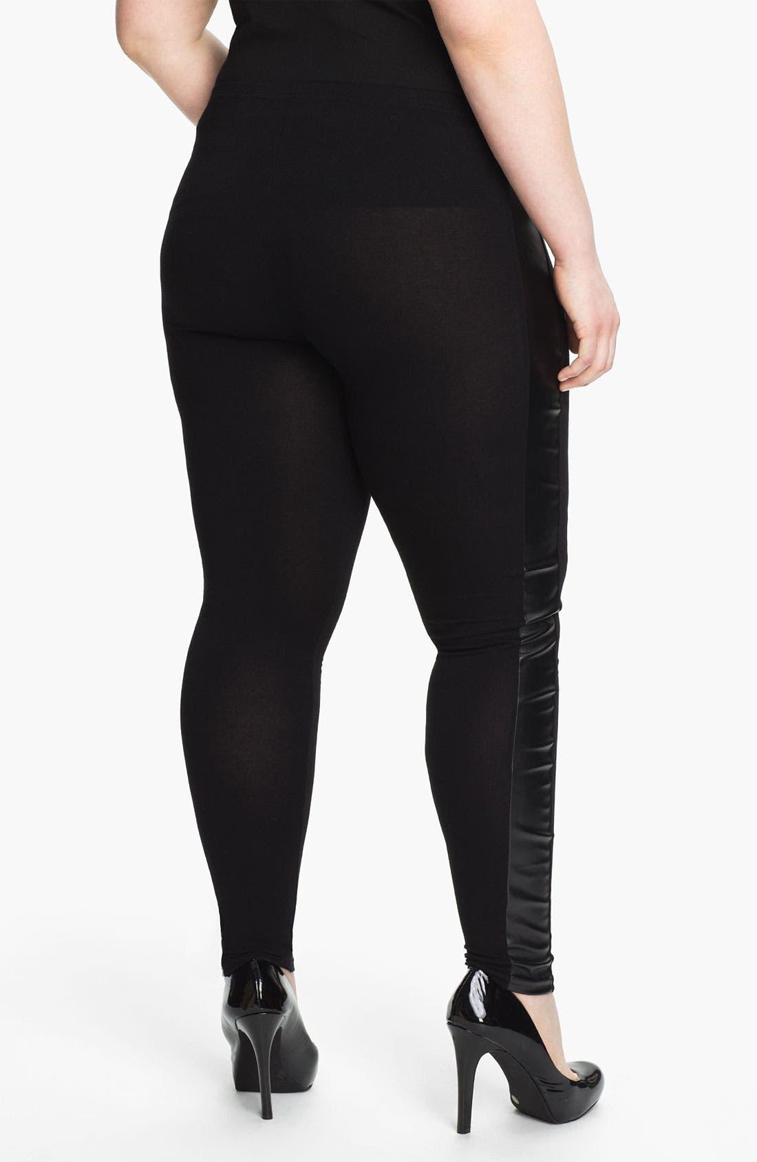 Alternate Image 2  - Evans Faux Leather Trim Leggings (Plus Size)
