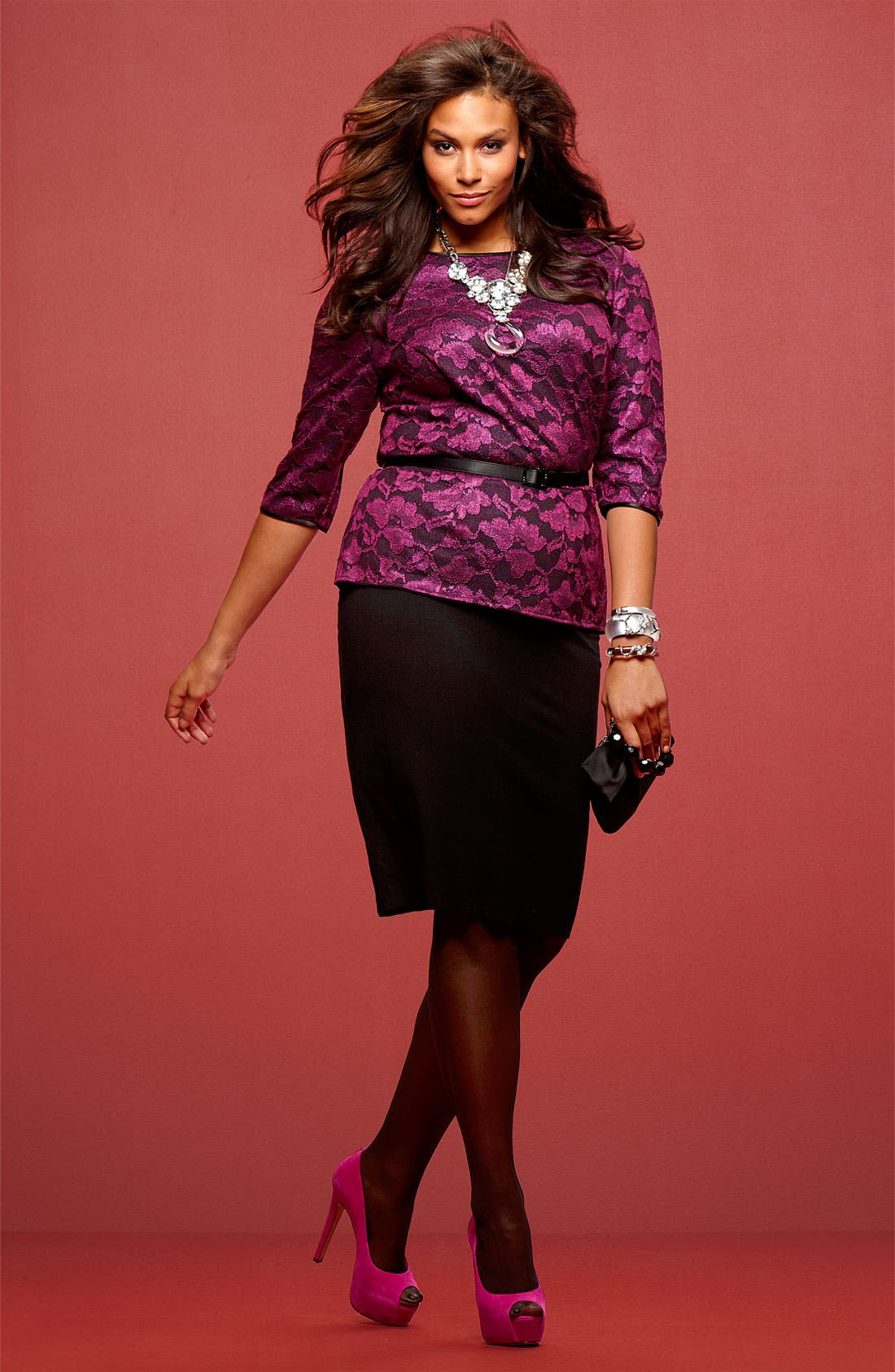 Main Image - Alex Evenings Lace Top & Vince Camuto Skirt