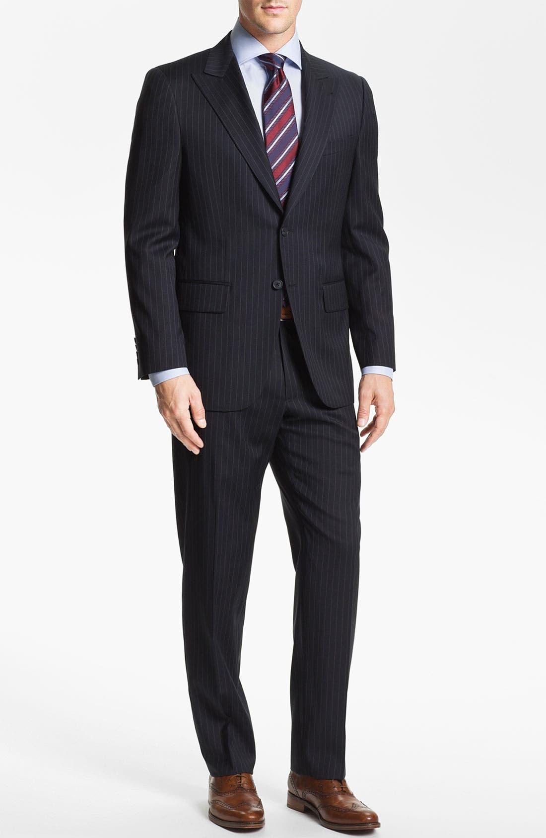 Alternate Image 2  - Joseph Abboud Trim Fit Peak Lapel Stripe Suit