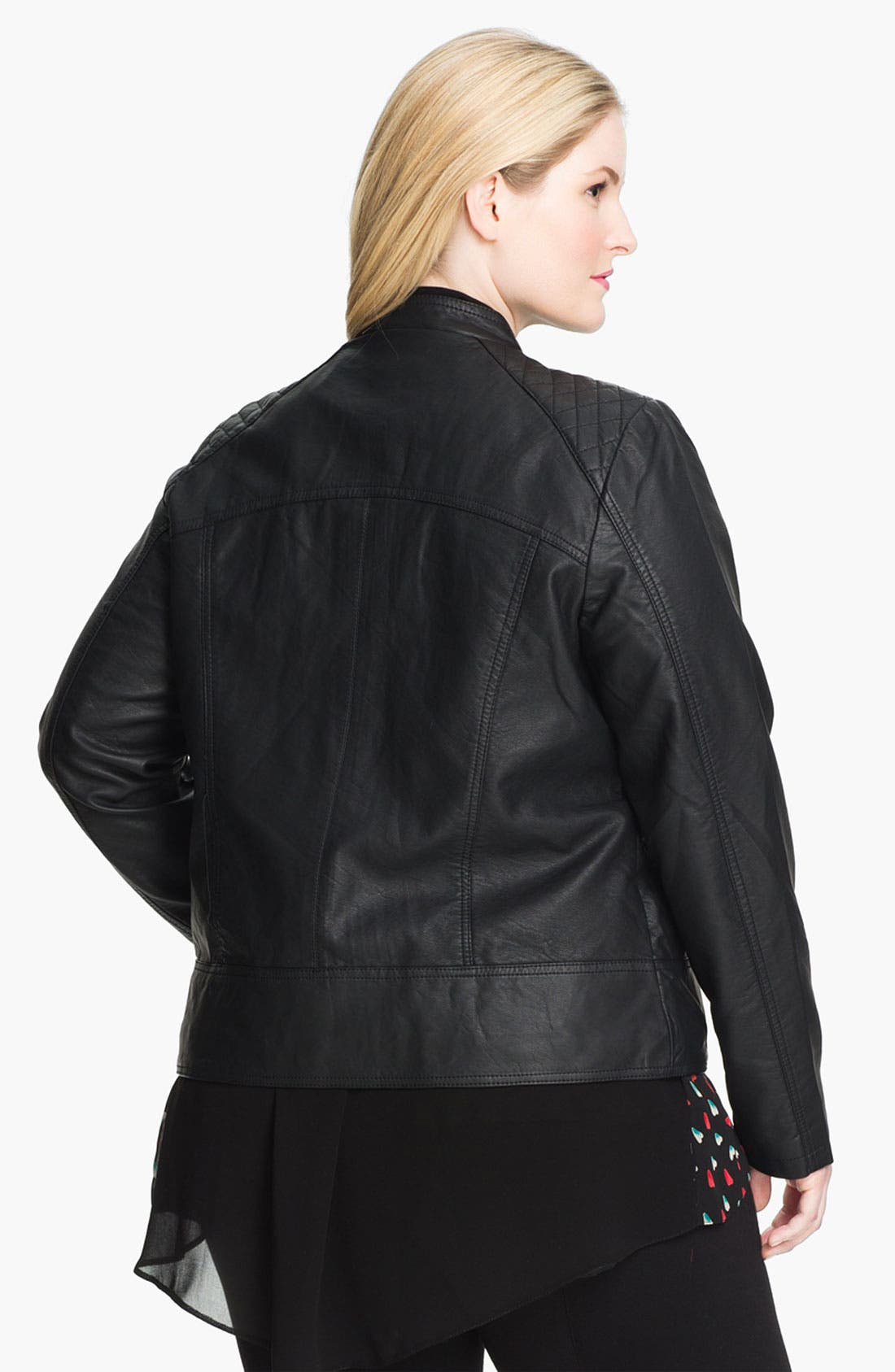 Alternate Image 2  - Evans Quilted Faux Leather Jacket (Plus Size)