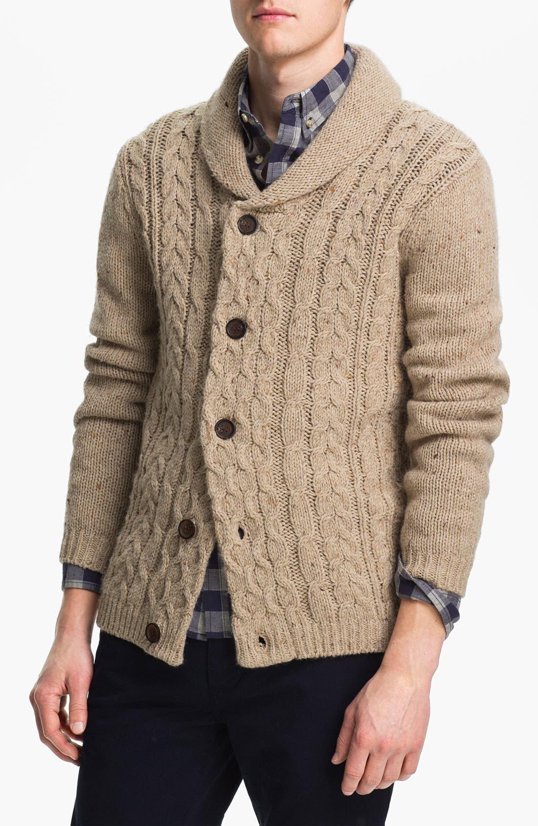 Main Image - Topman Cable Knit Shawl Collar Cardigan