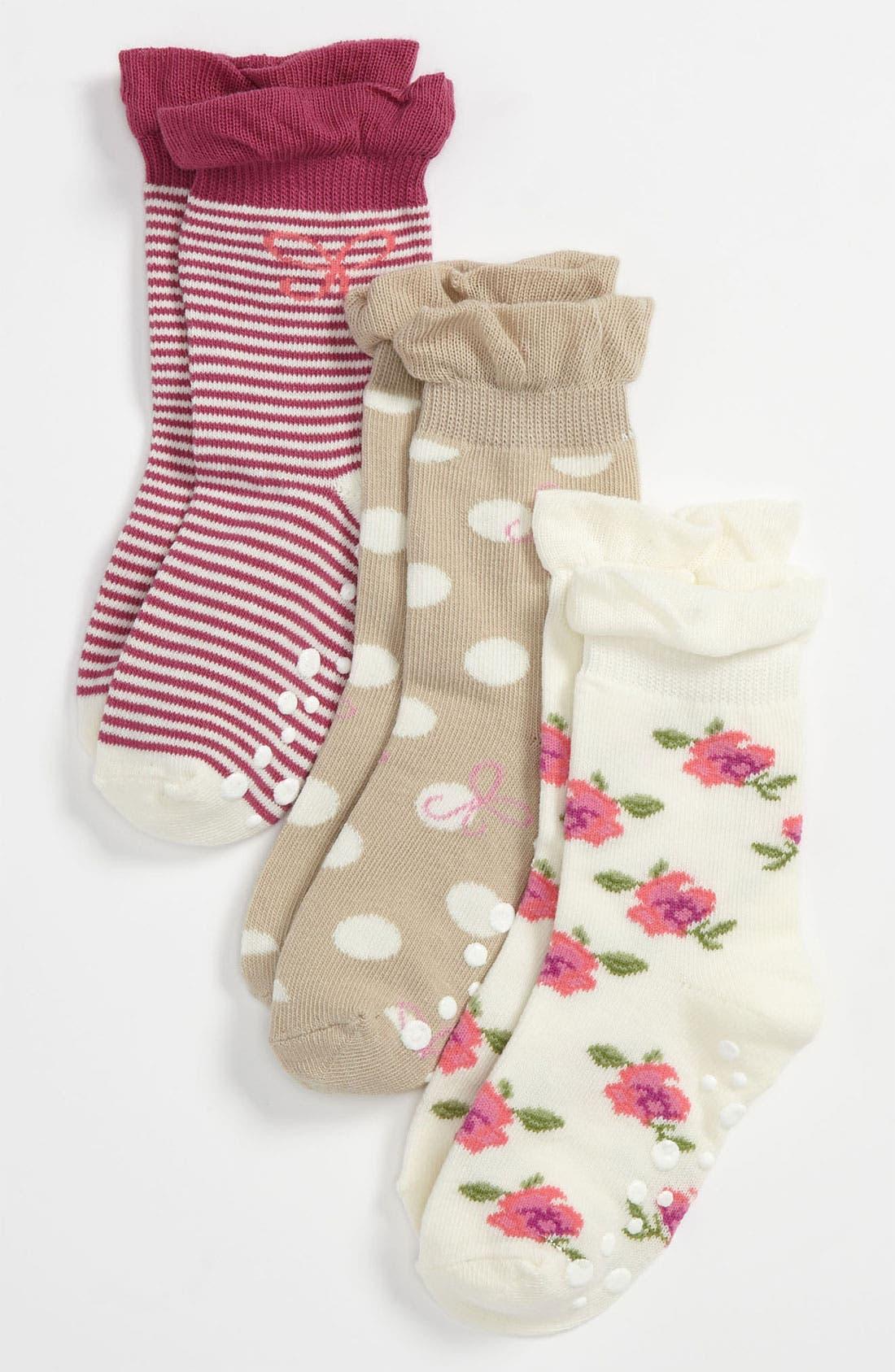 Alternate Image 1 Selected - Nordstrom 'Posey Toes' Socks (3-Pack) (Girls)
