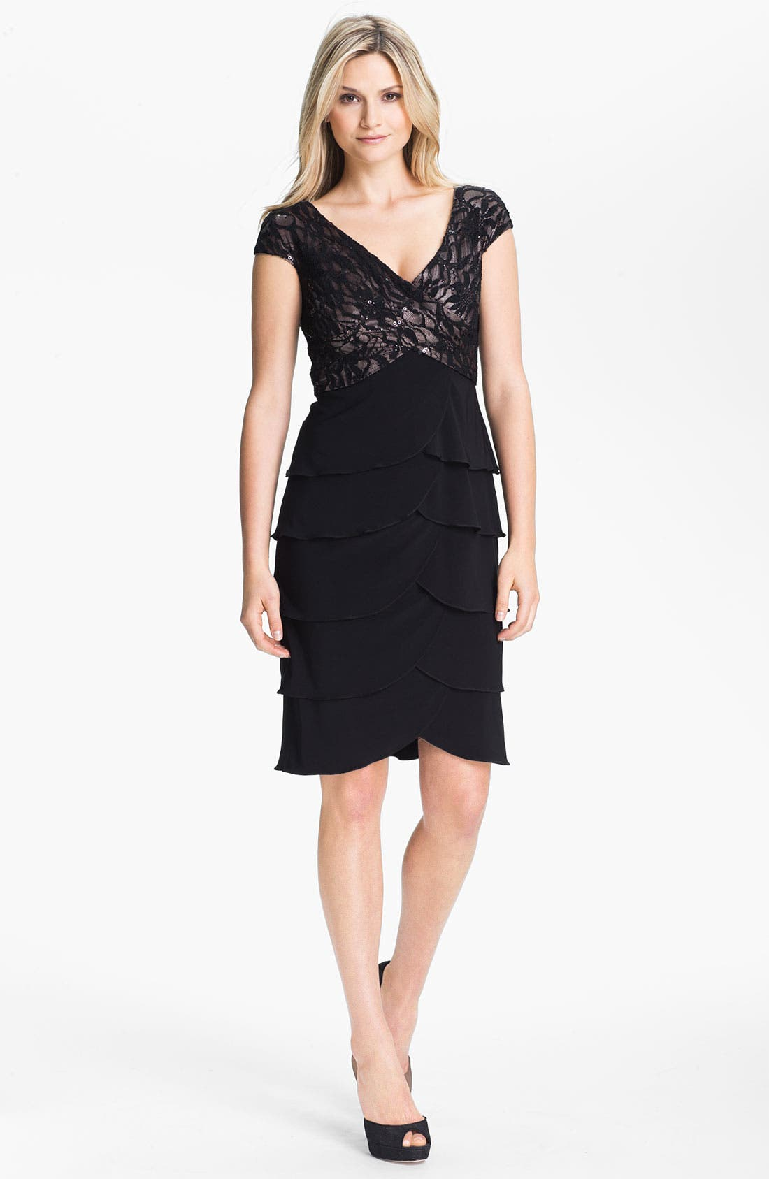 Main Image - Patra Embellished Lace Tiered Jersey Dress