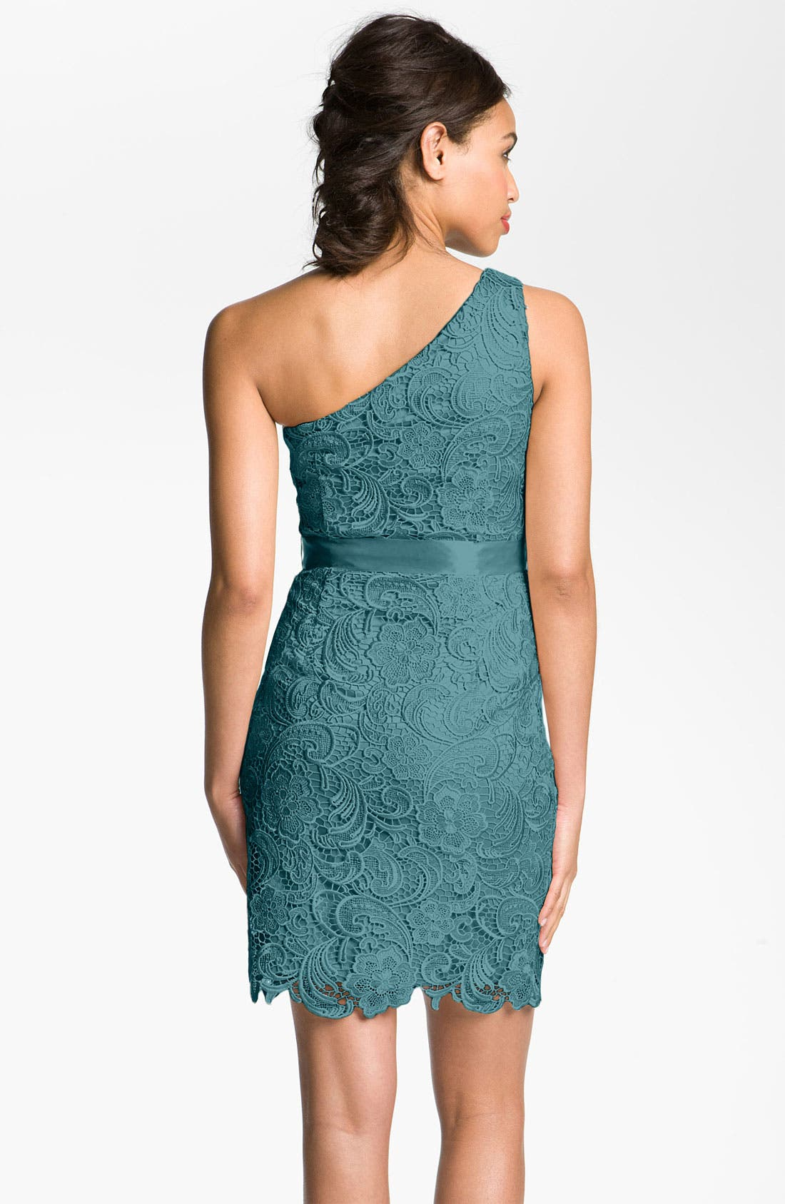Alternate Image 2  - Adrianna Papell Lace One Shoulder Sheath Dress