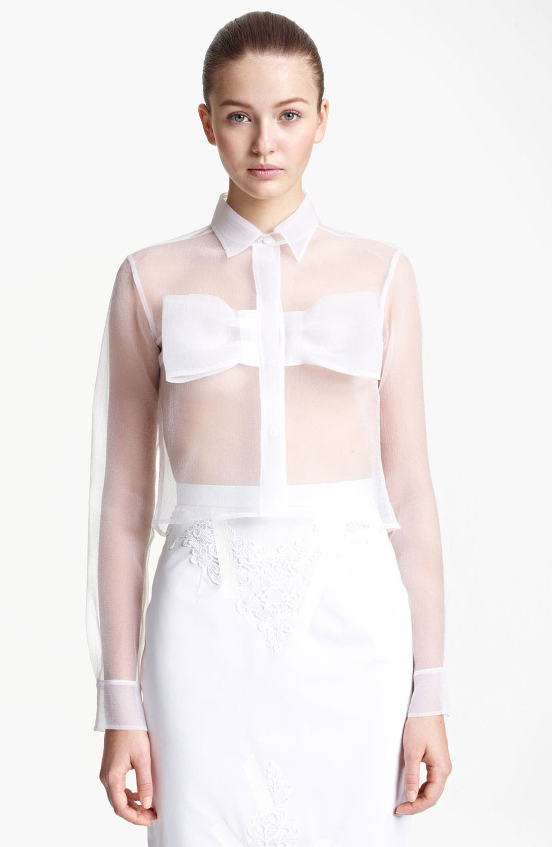 Bow Detail Sheer Organza Blouse,                         Main,                         color, White