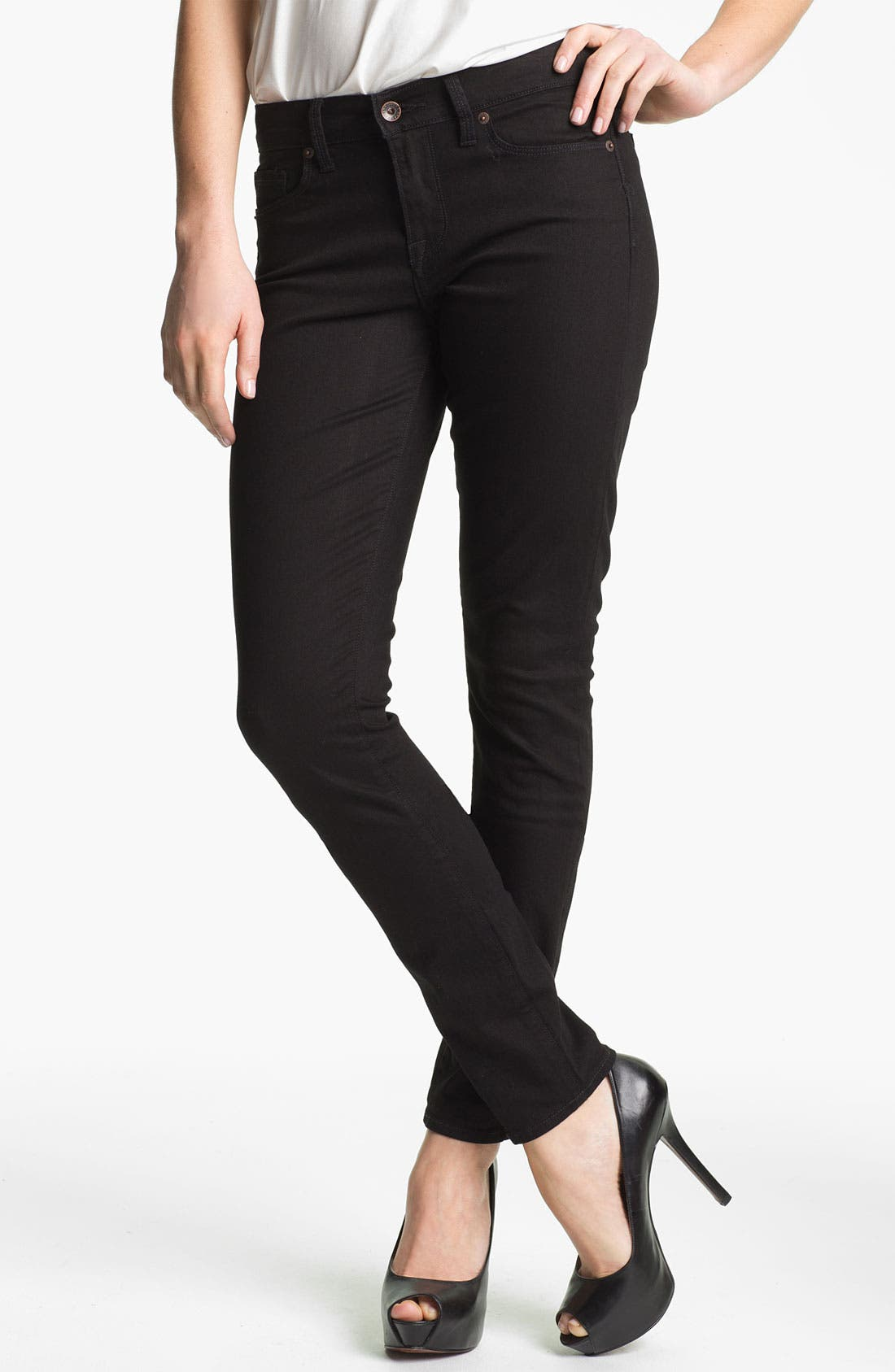 Alternate Image 1 Selected - Lucky Brand 'Sofia' Skinny Jeans (Black) (Online Exclusive)