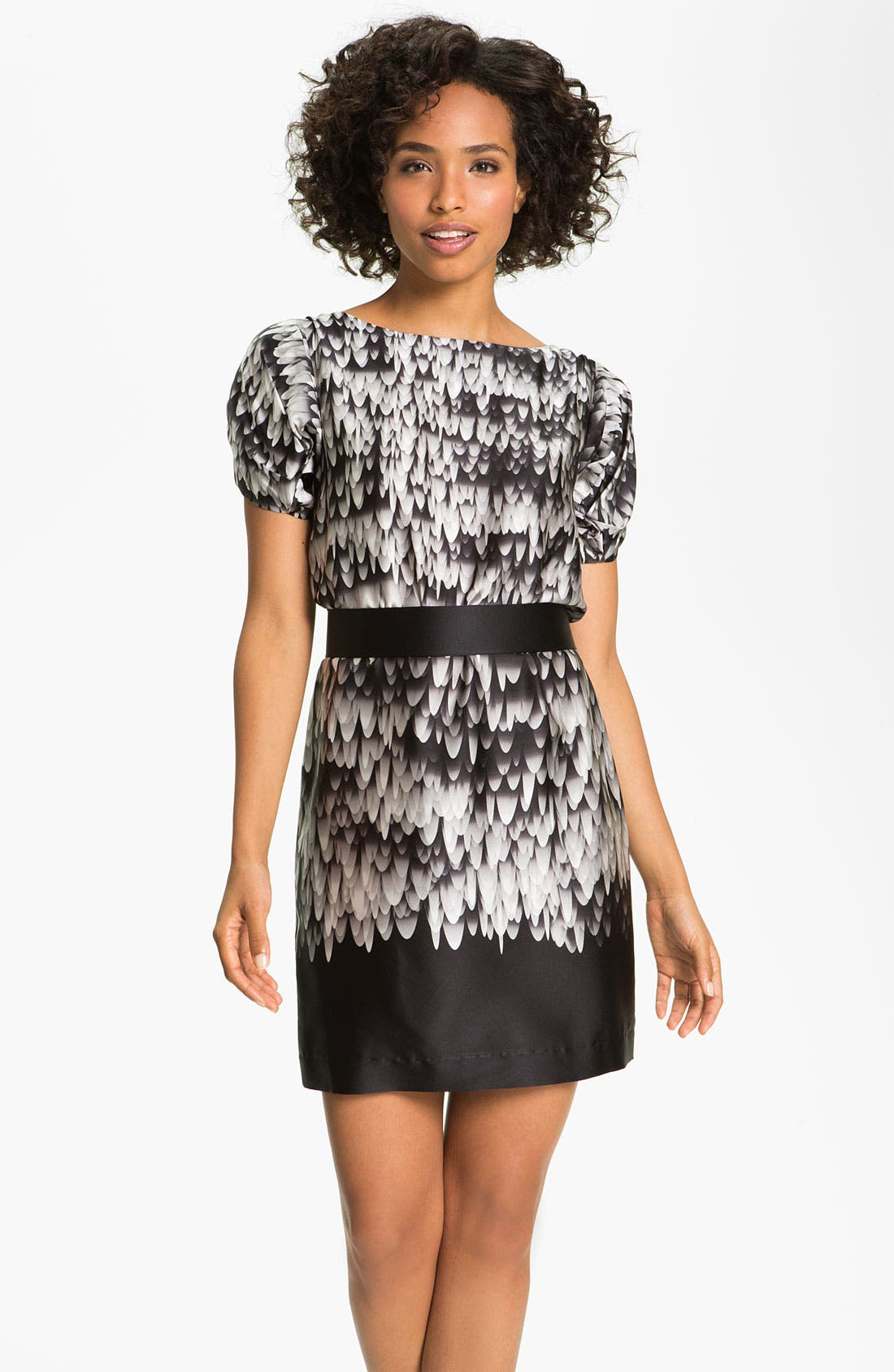 Main Image - Suzi Chin for Maggy Boutique Ruched Sleeve Charmeuse Dress (Petite)