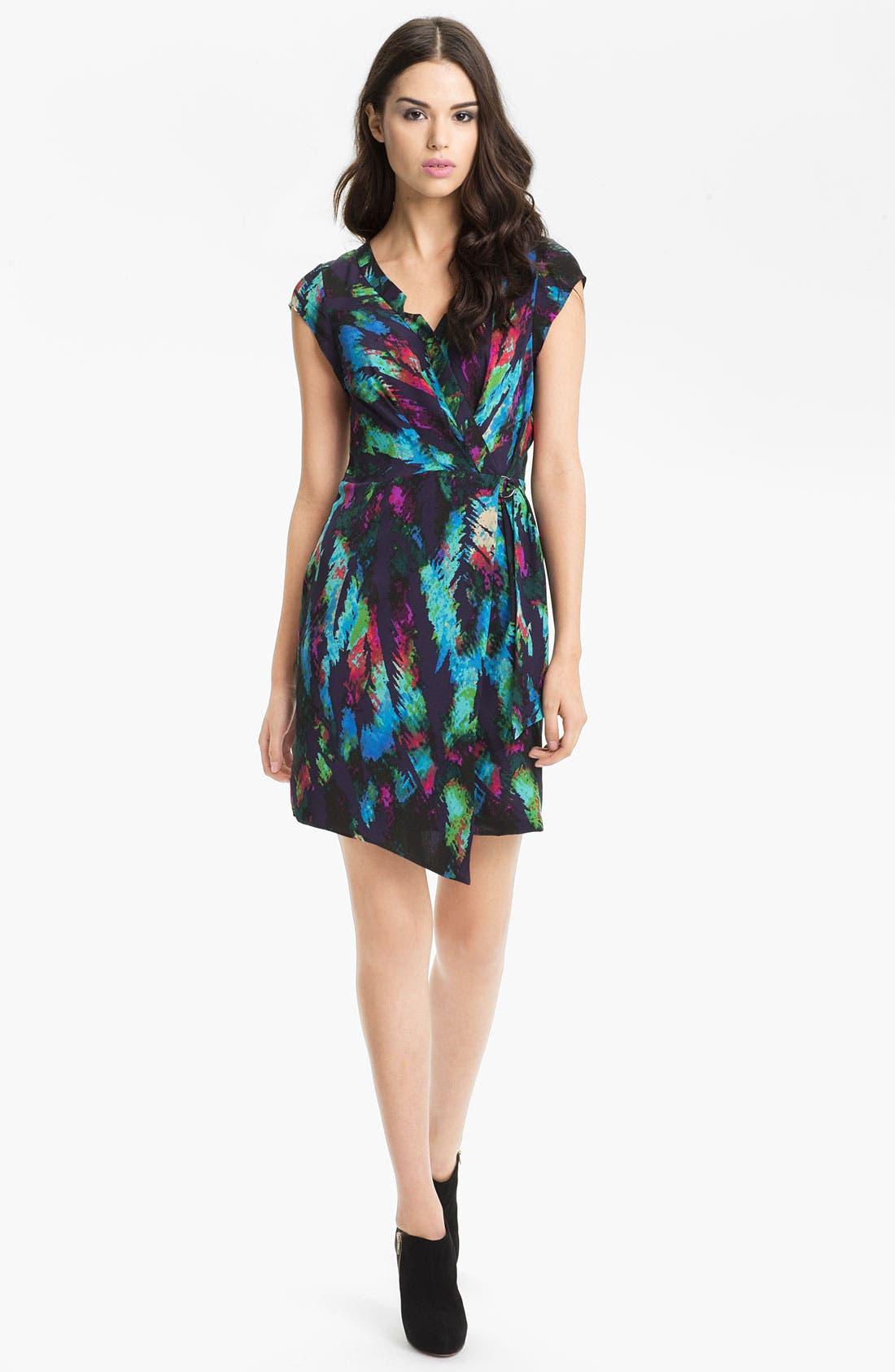 Main Image - Presley Skye 'Hannah' Print Faux Wrap Silk Dress